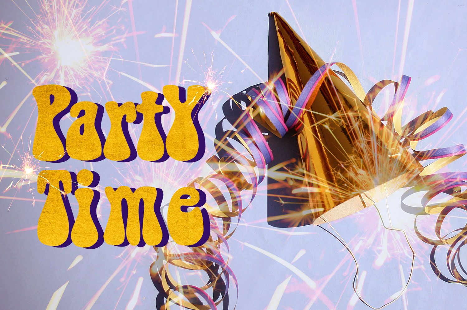 """A party hat, ribbon, and sparklers fly through the air near a """"Party Time"""" logo."""