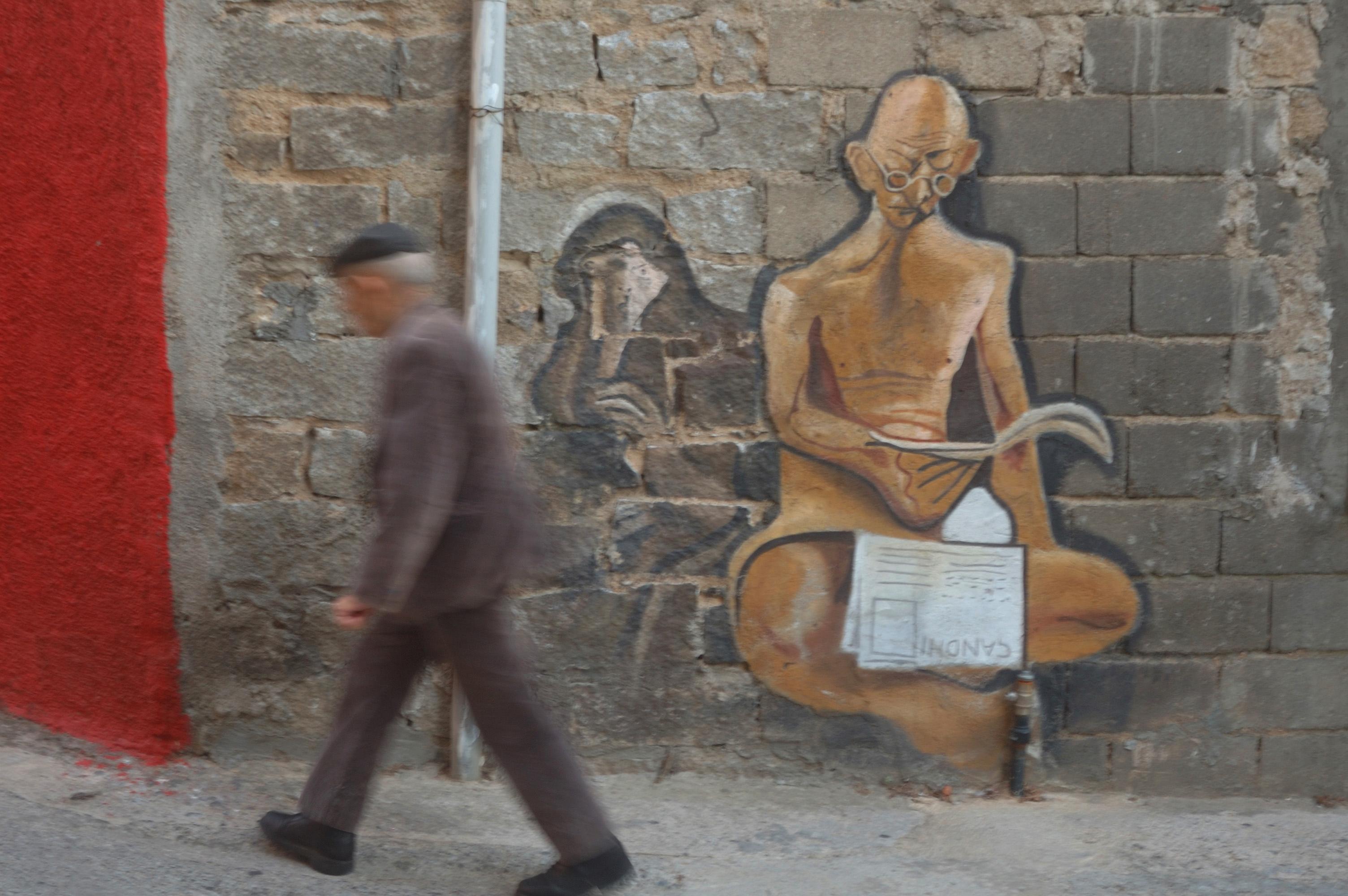 A village mural in Sardinia, Italy.