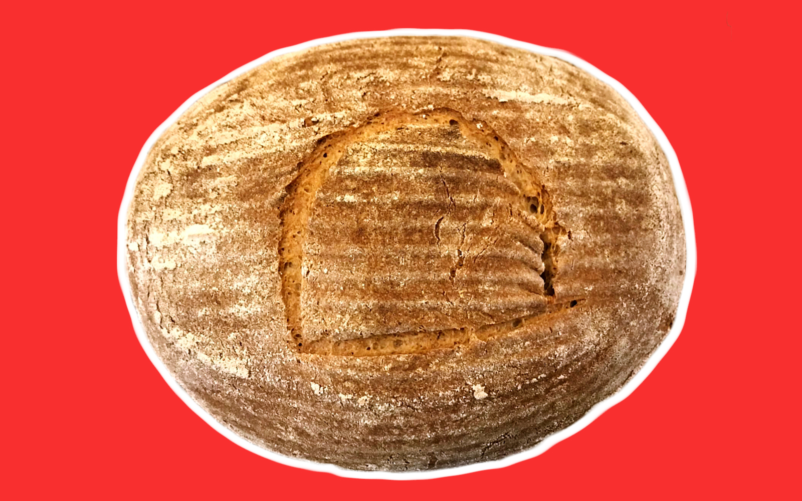 "A loaf of sourdough bread with an Egyptian letter for ""T"" scored on top, on a red background."