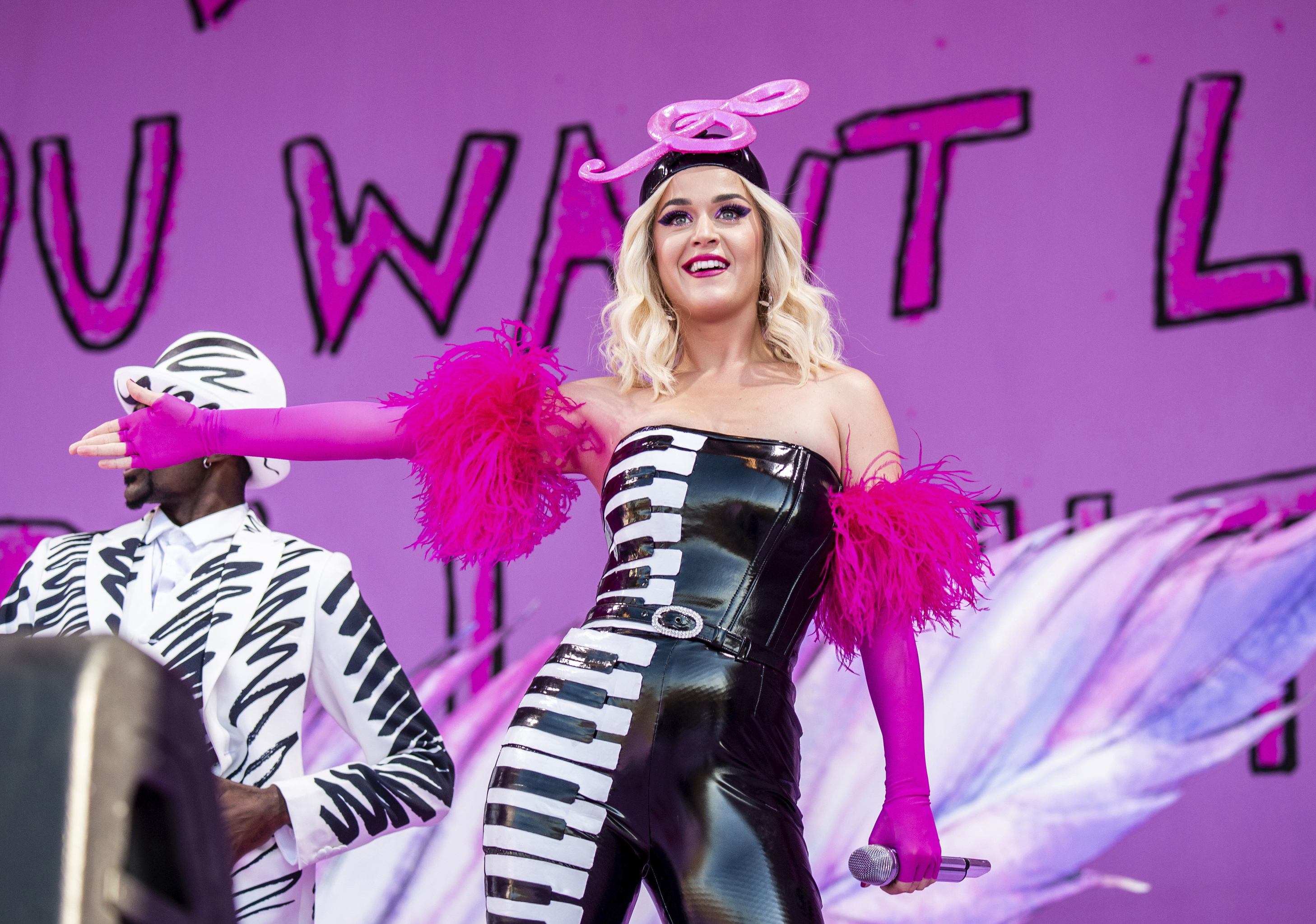 This April 27, 2019 file photo shows Katy Perry at the New Orleans Jazz and Heritage Festival in New Orleans. The penalty phase in a copyright infringement trial will begin Tuesday, July 30, 2019, in Los Angeles and will determine how much Perry and other