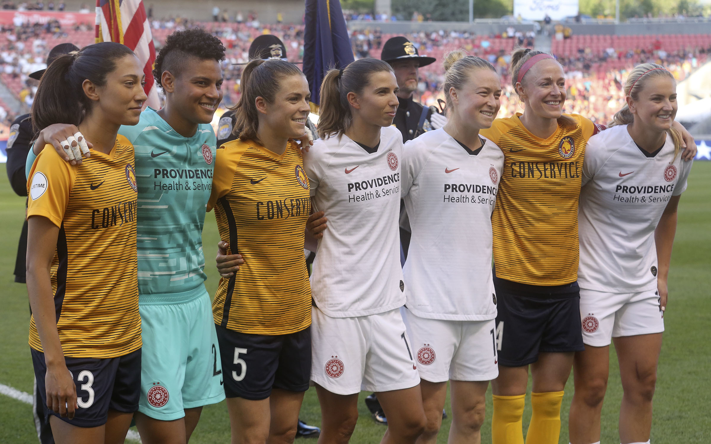 Members of the U.S. Women's National Soccer Team are honored before the Utah Royals FC play the Portland Thorns FC in a soccer game at Rio Tinto Stadium in Sandy on Friday, July 19, 2019. Final score was 2-2.
