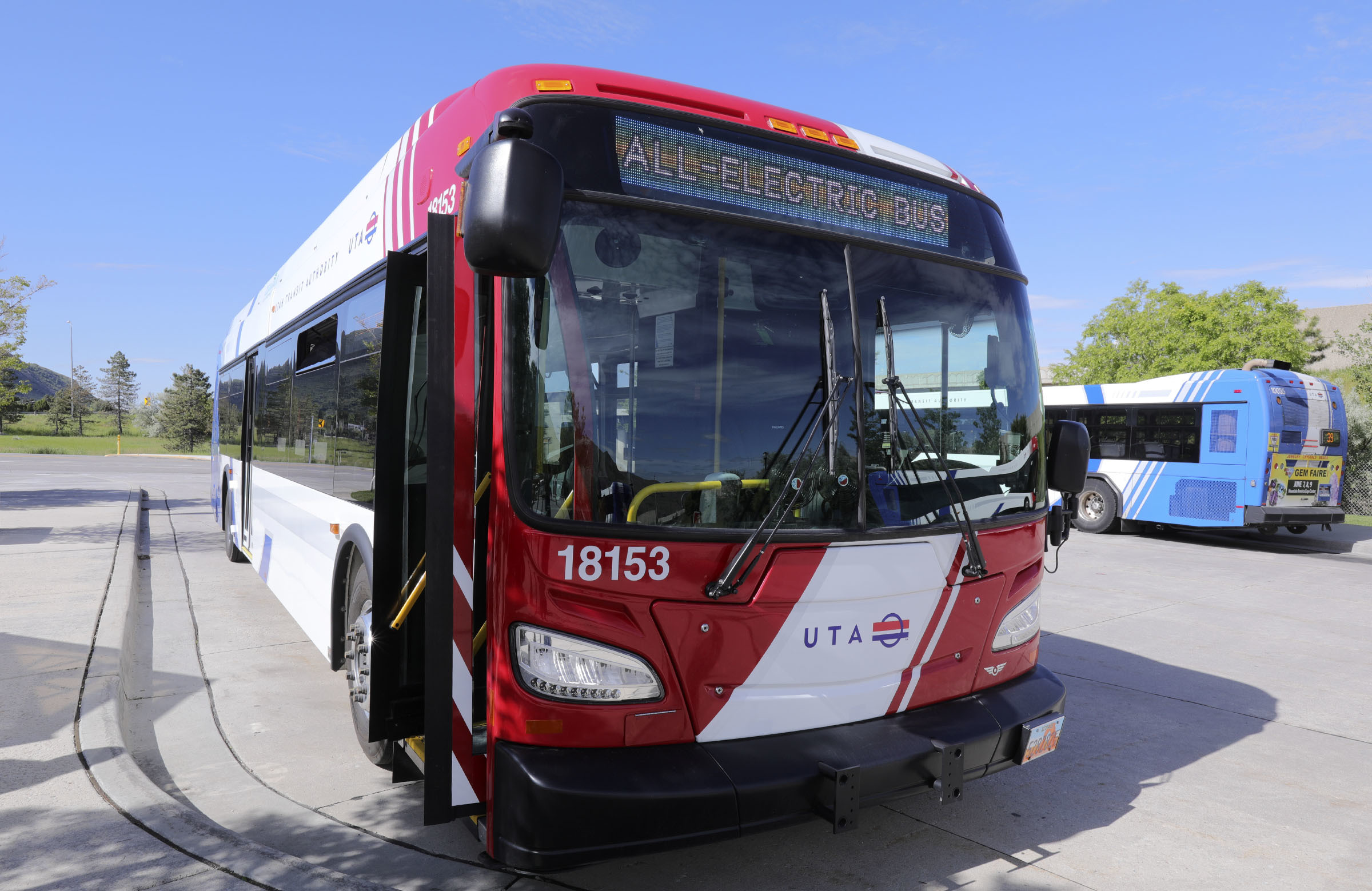 FILE - An electric bus that will go into service later this summer is pictured at the Utah Transit Authority Park & Ride in Millcreek on Friday, May 31, 2019.