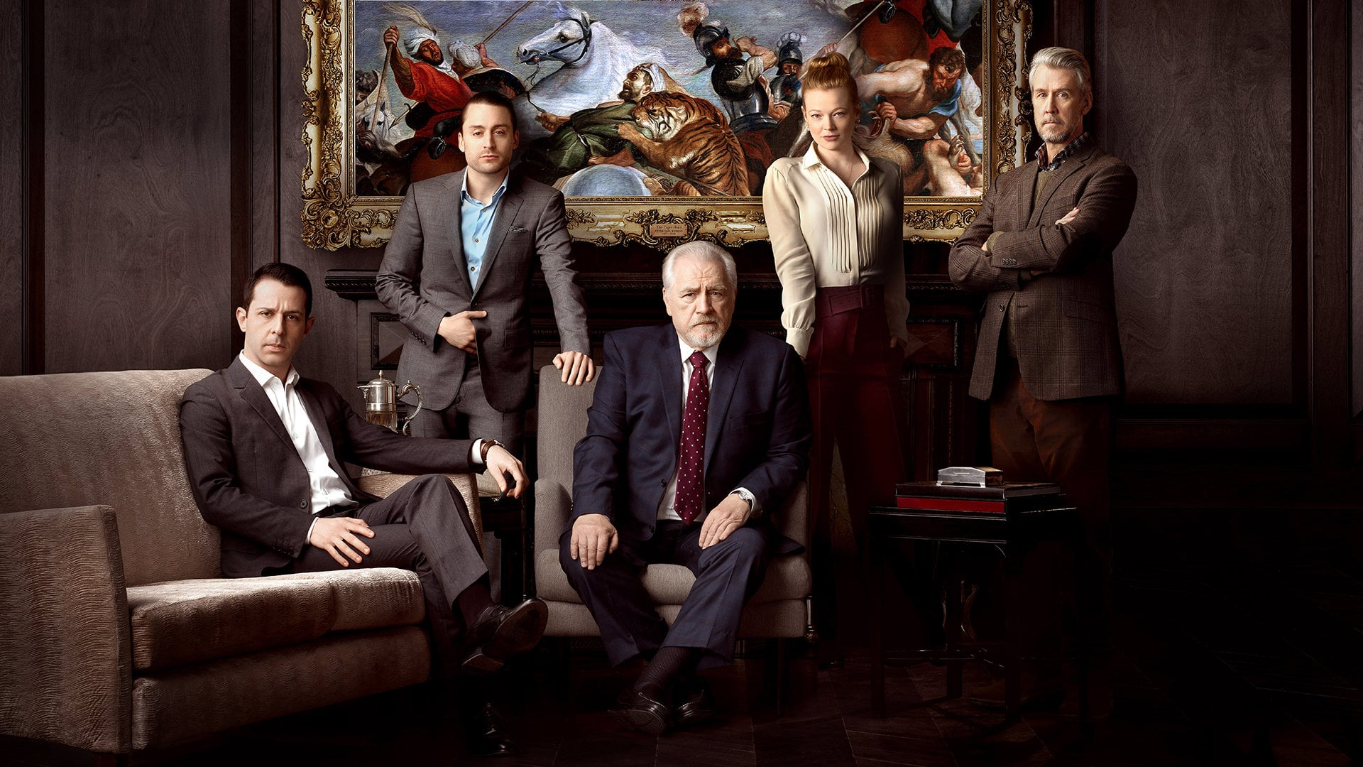 the Roy family on Succession: Kendall (seated); Roman (standing); the patriarch, Logan (seated); Siobhan (standing); Connor (standing)