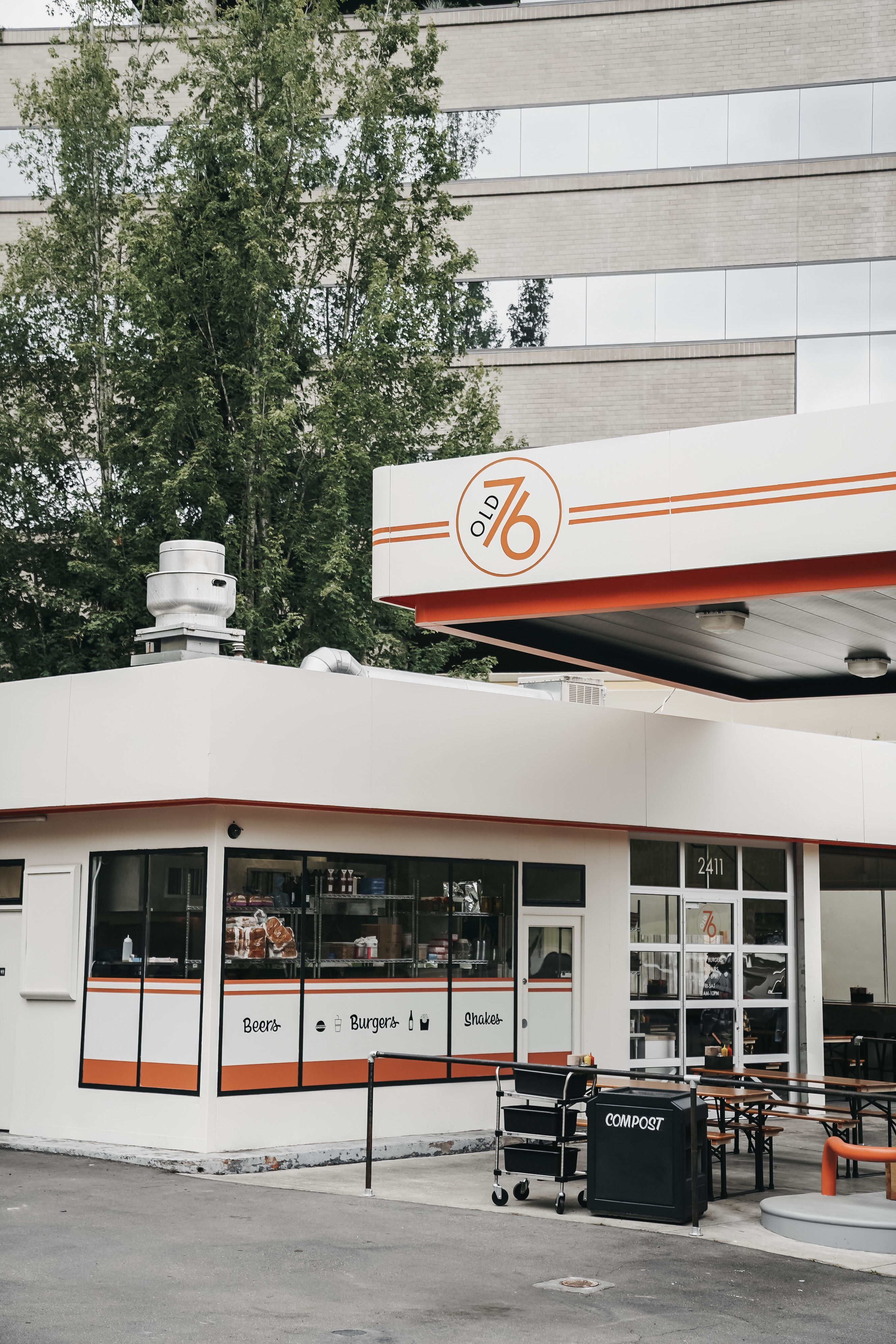 New Burger Spot from Homegrown Owners Opens on Mercer Island in an Old Gas Station
