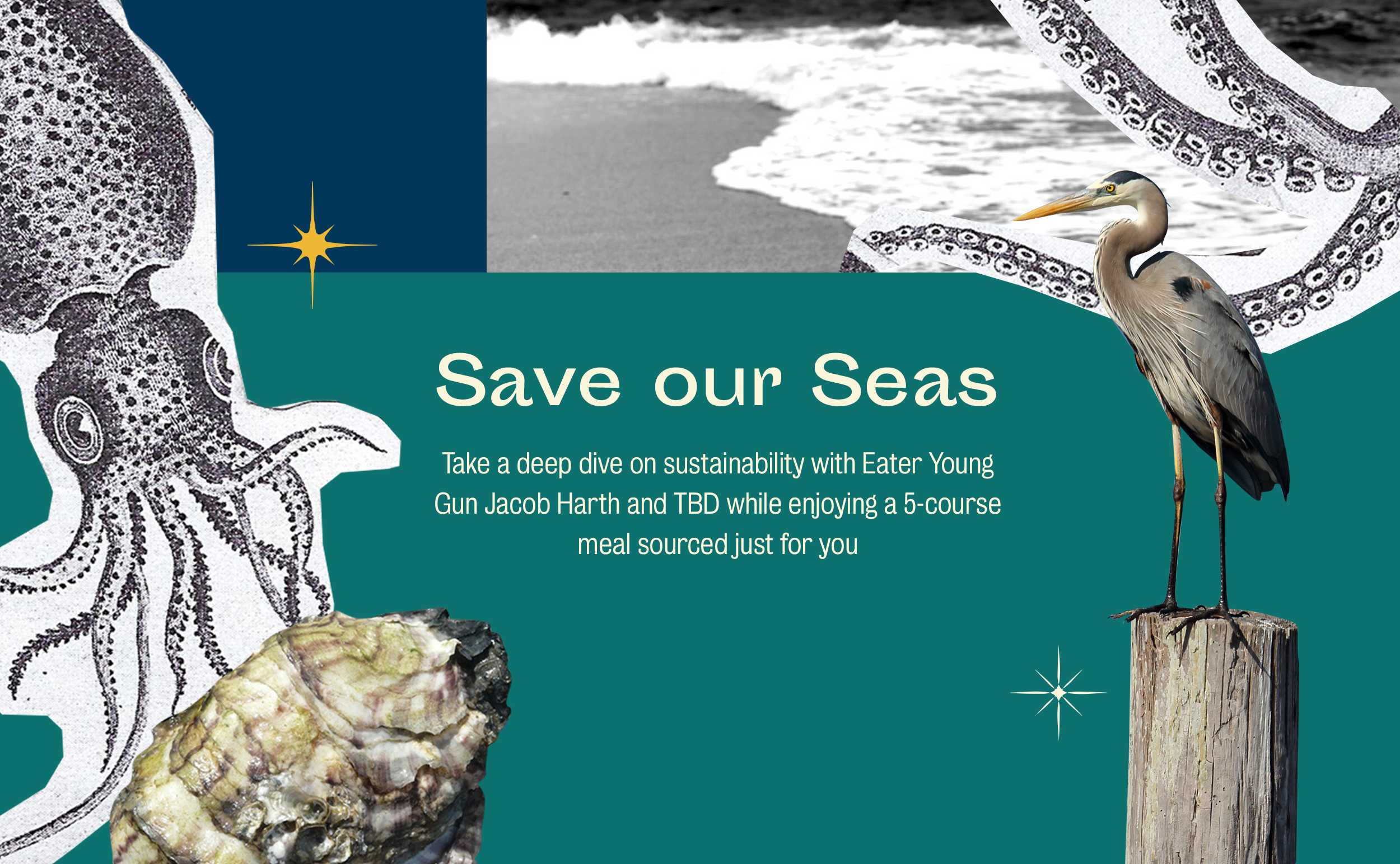 Invitation to the Save Our Seas dinner, hosted in New York City.