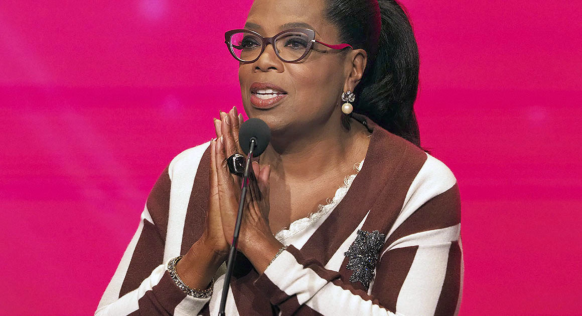 Oprah Winfrey speaks at the 24th Television Academy Hall of Fame on Wednesday, Nov. 15, 2017, at the Television Academy's Saban Media Center in North Hollywood, Calif.