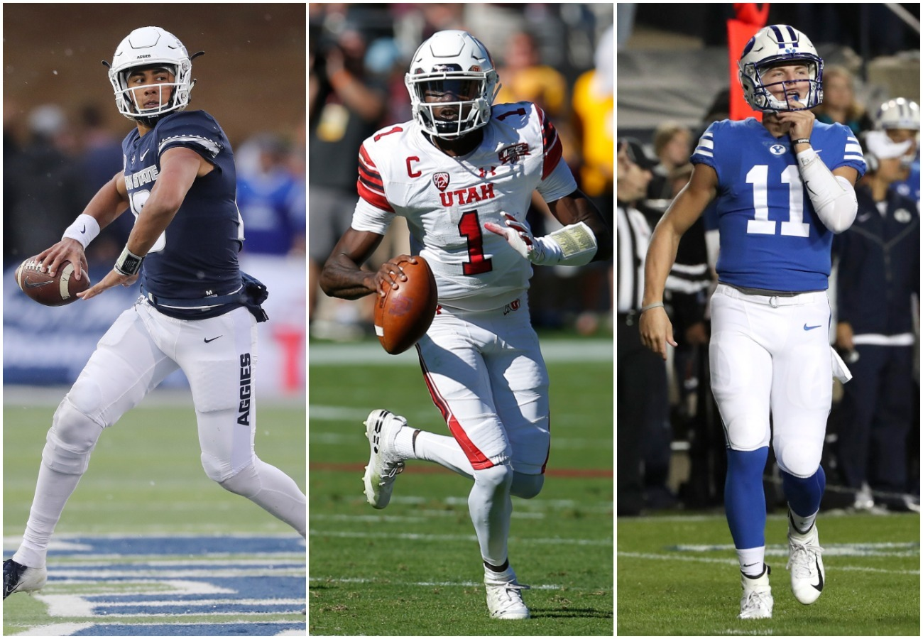 Quarterbacks for the state's three FBS programs include, from left, Utah State's Jordan Love, Utah's Tyler Huntley and BYU's Zach Wilson.