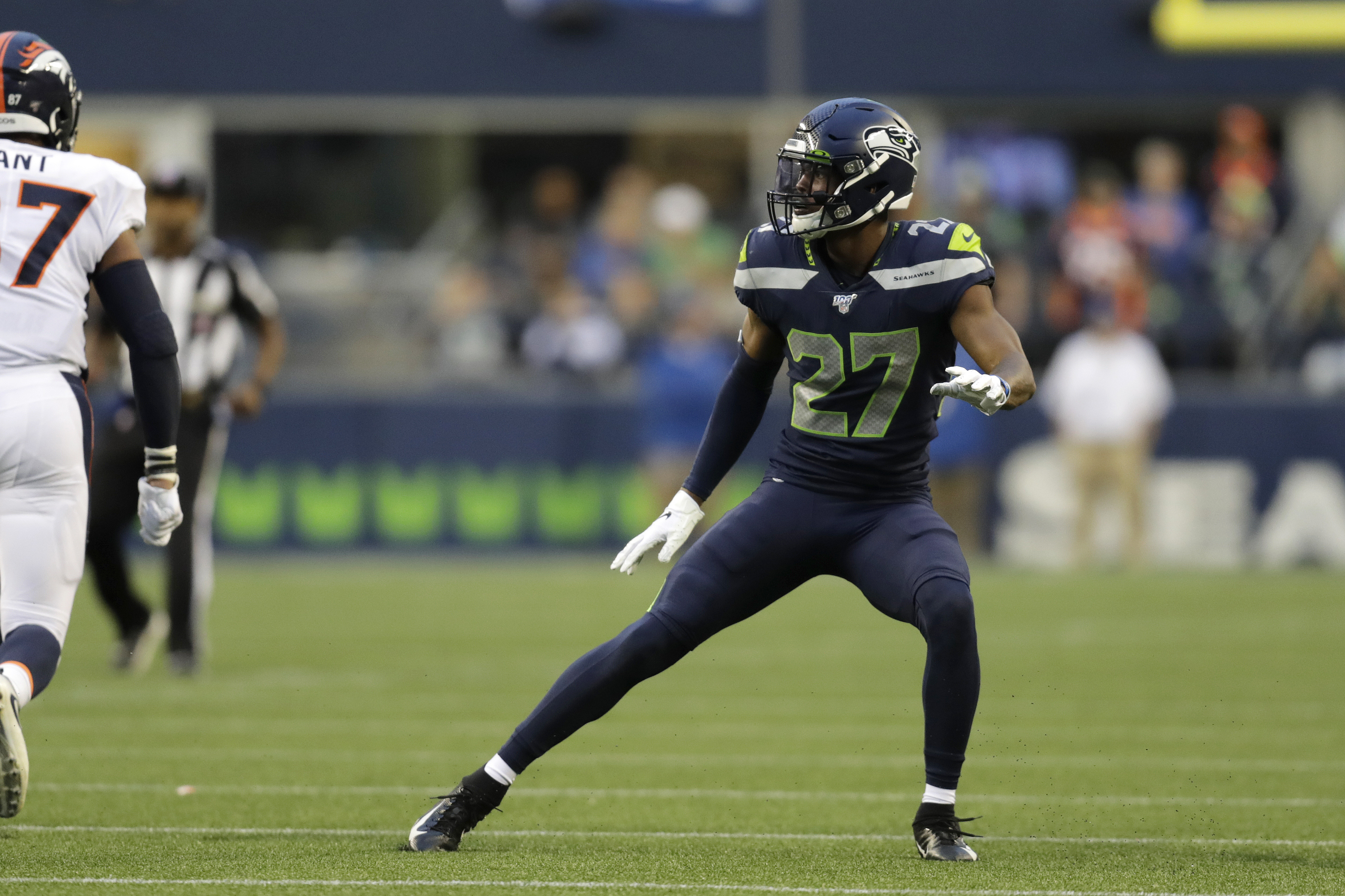 Seattle Seahawks defensive back Marquise Blair watches a Denver Broncos play develop during the first half of an NFL football preseason game Thursday, Aug. 8, 2019, in Seattle.