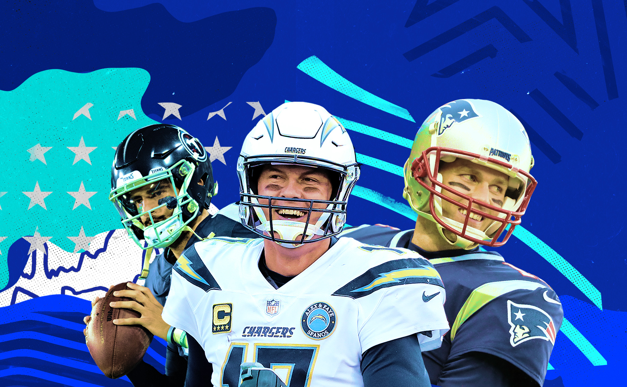 Tom Brady are Philip Rivers are smiling; Marcus Mariota is throwing.