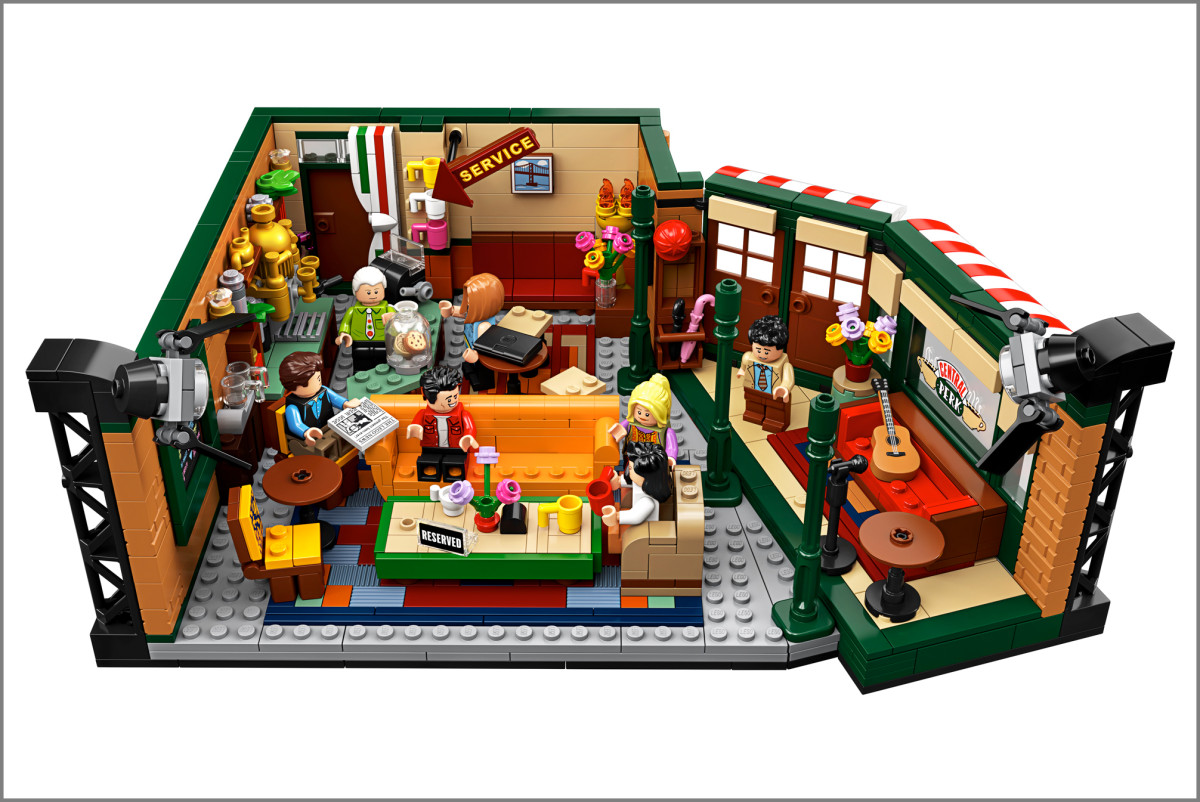 A Lego model of the coffee shop in Friends, featuring an orange sofa.