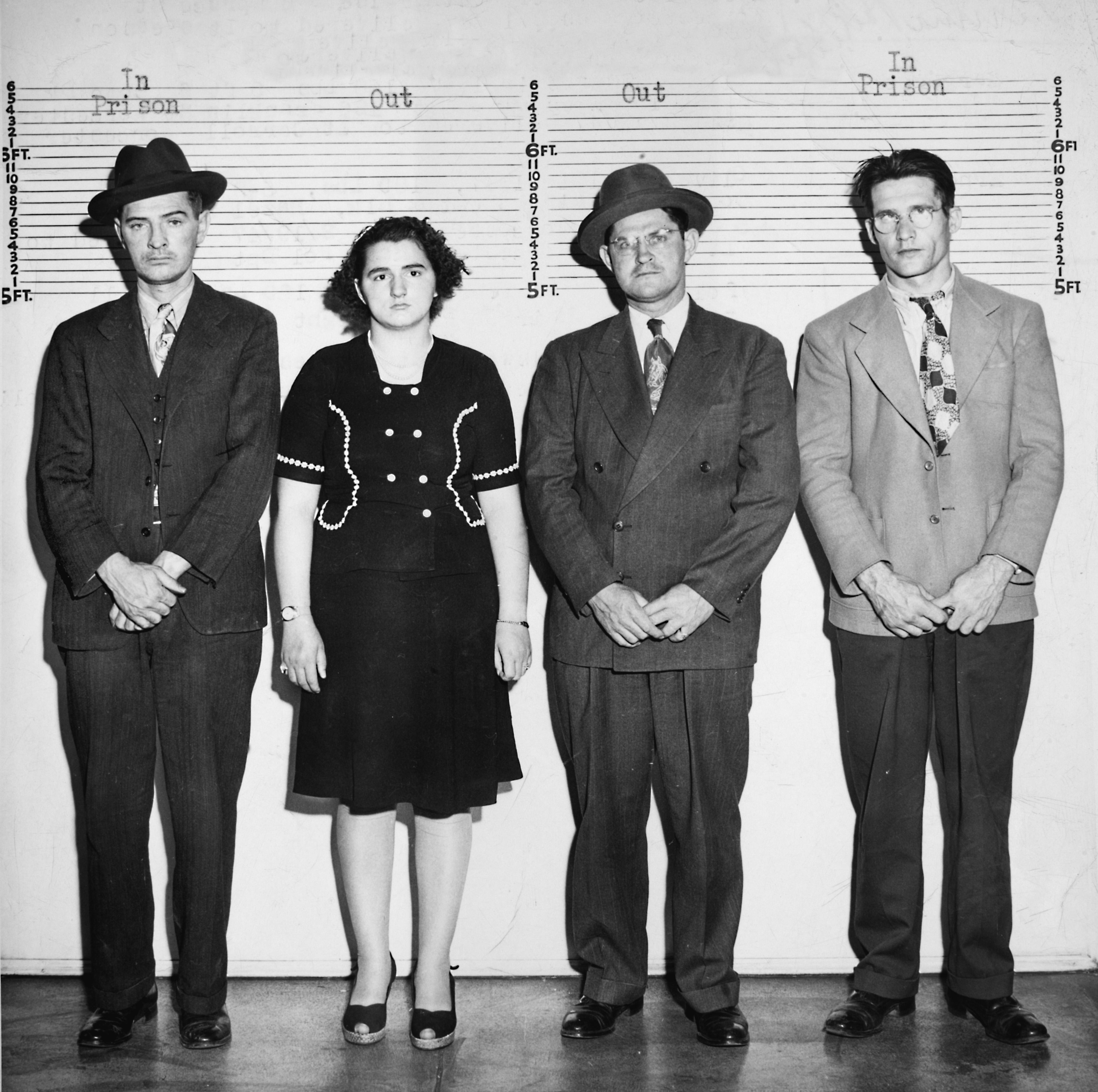 A line up of four criminals, ca. 1945