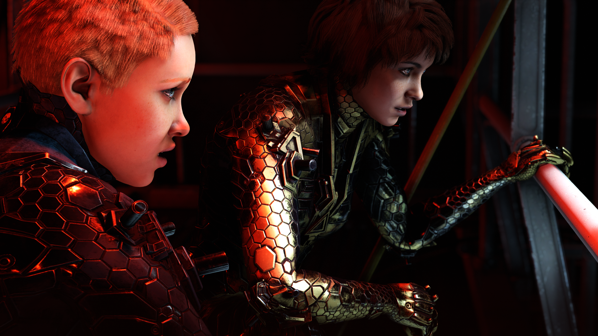 sisters Sophia and Jessica in reptilian, powered armor spy on Nazis in Wolfenstein: Youngblood