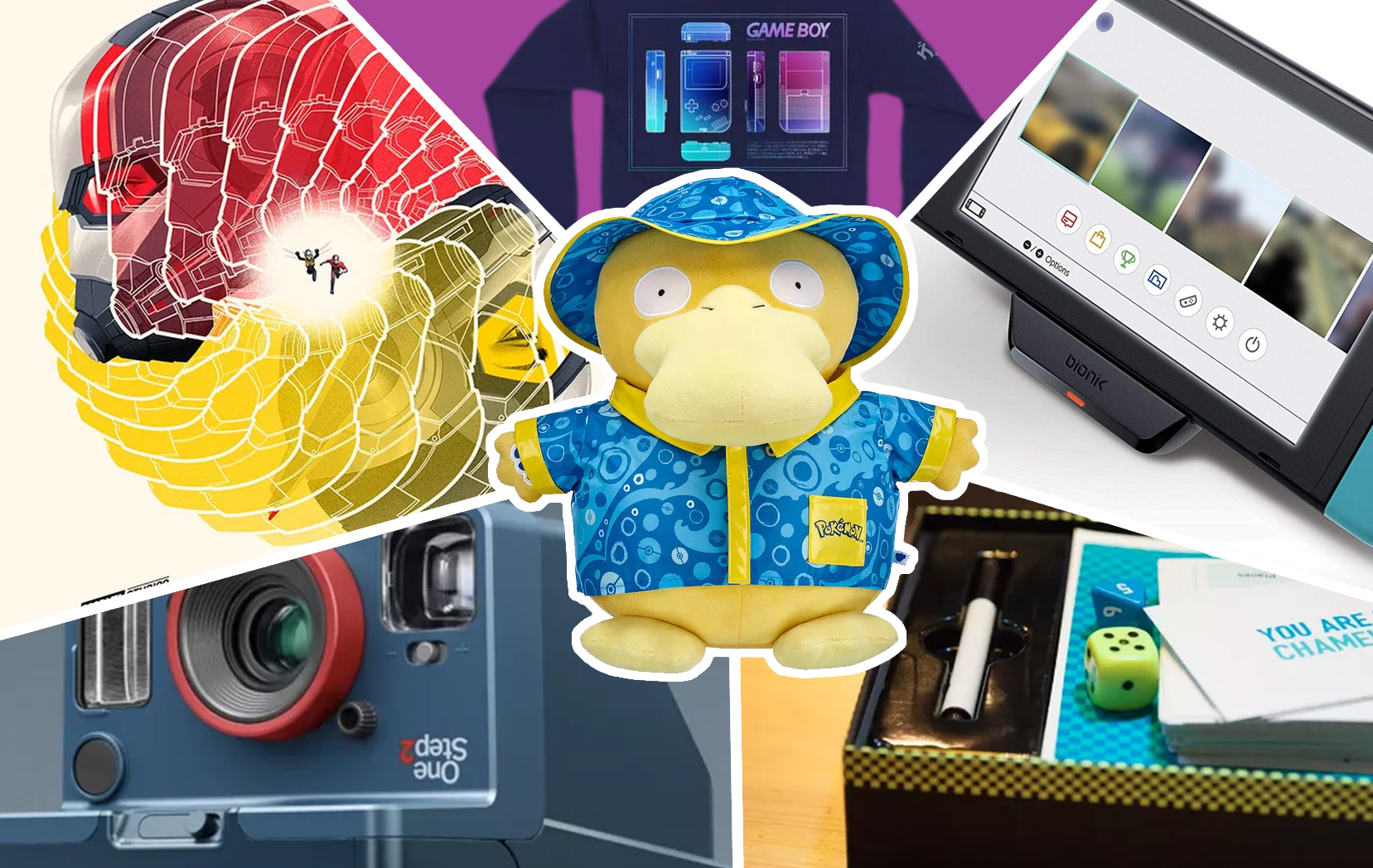 Back to School 2019 gift guide collage, with build-a-bear Psyduck in the middle. Also featuring Switch accessories, Game Boy-themed sweater, Ant-Man poster, Stranger Things Polaroid camera, and a board game with dice