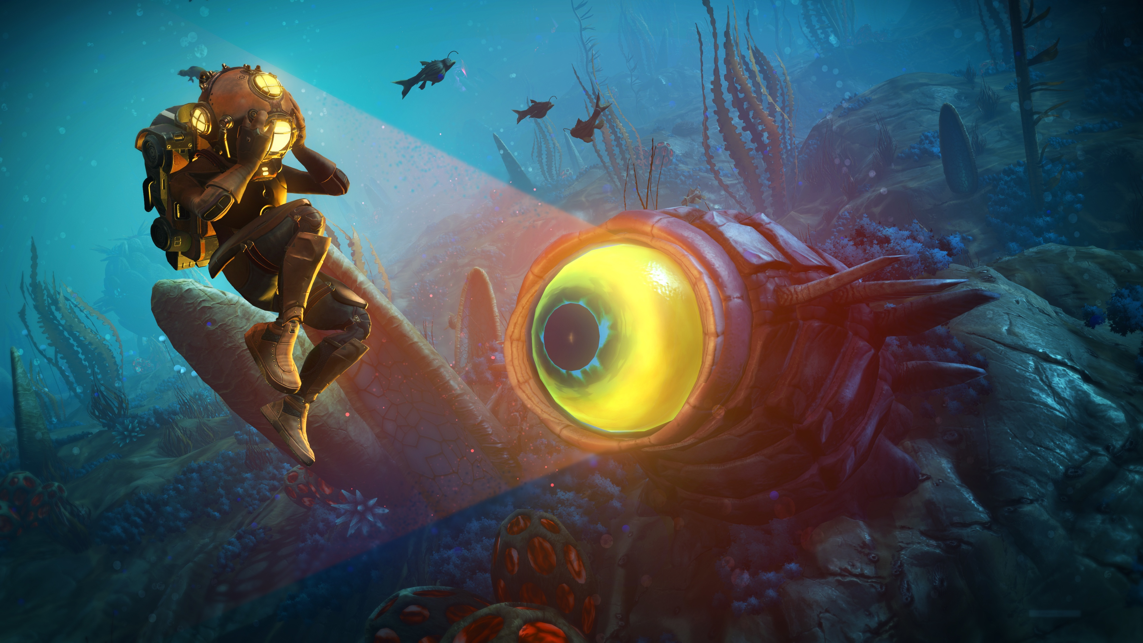 A space explorer swims underwater near a one-eyed alien creature in a screenshot from No Man's Sky