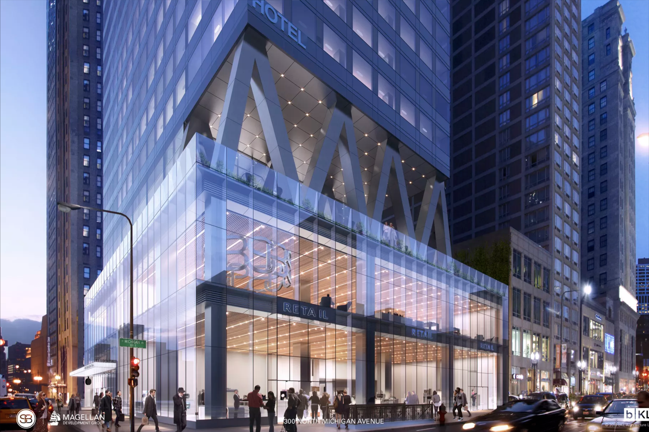 A glowing glass lobby and retail space on a busy downtown corner. It is topped by angled columns creating an open-air mezzanine with hotel rooms above.