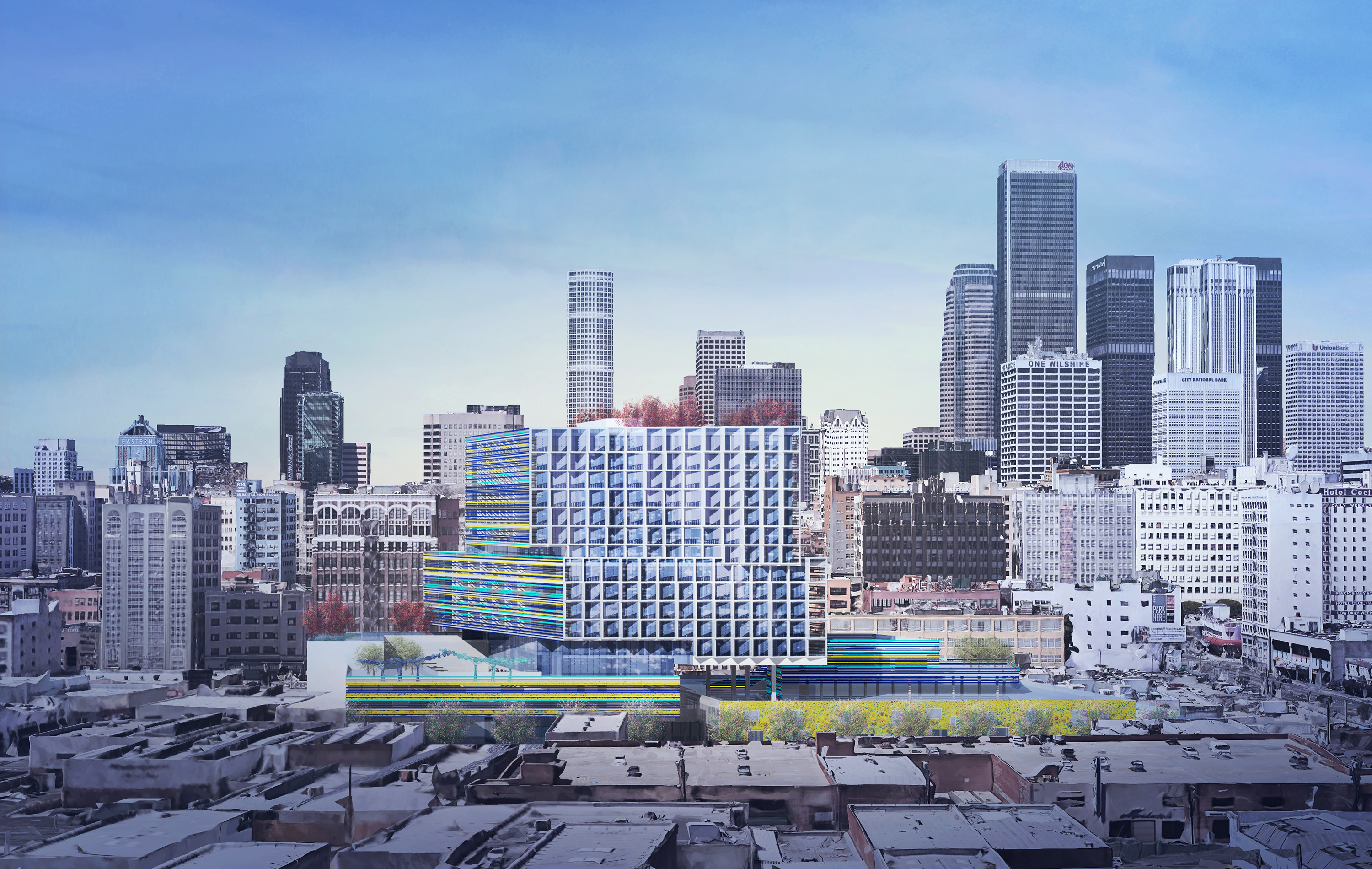 A rendering of the new development, which rises to 15 stories, against the backdrop of the Downtown LA skyline.