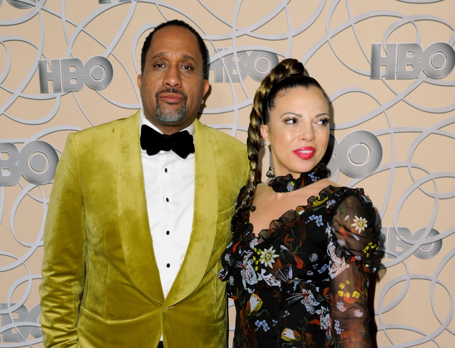 "Kenya Barris and his wife, Dr. Rania ""Rainbow"" Barris arrive at the HBO Golden Globes afterparty in Beverly Hills, California, in 2017."