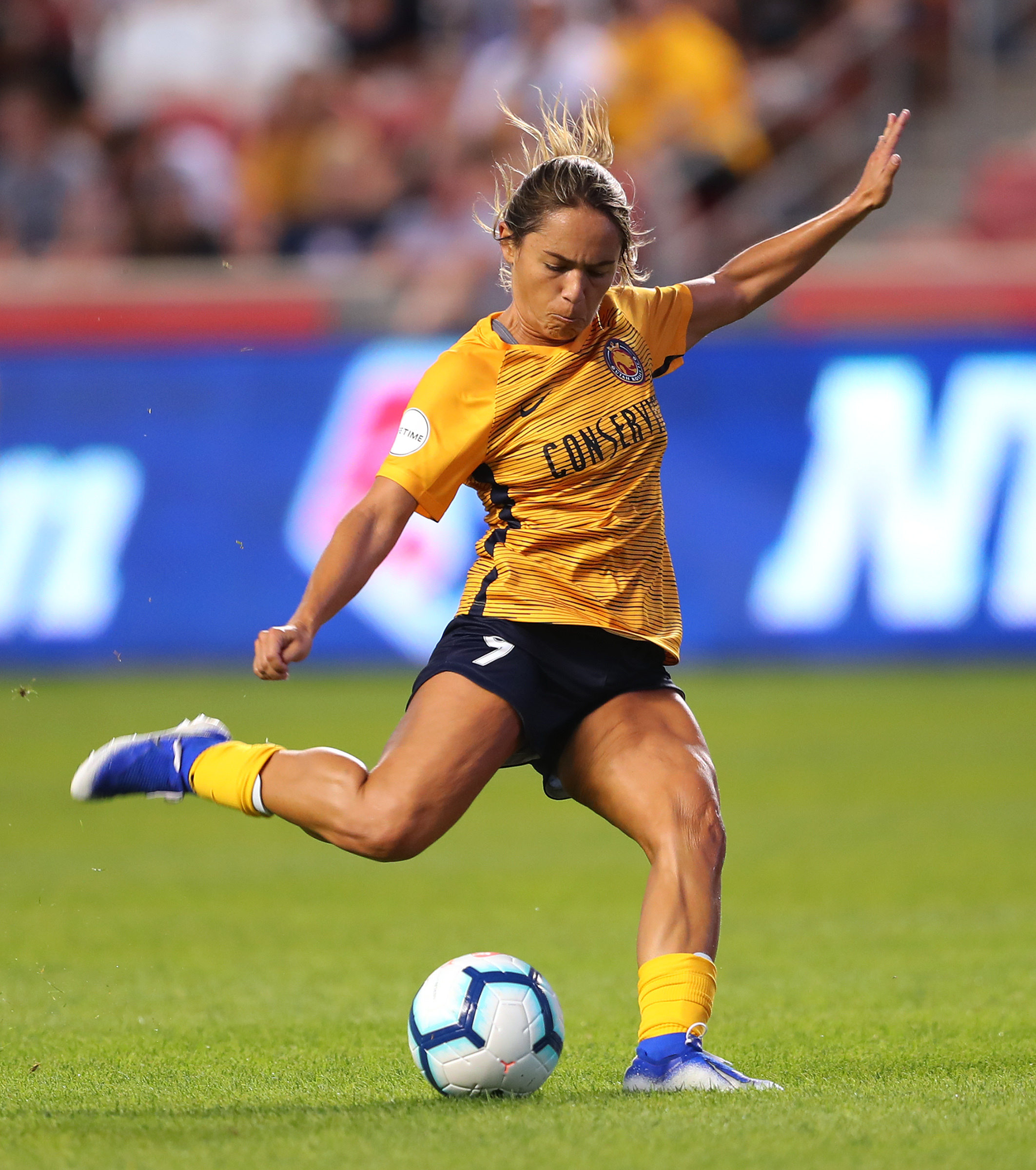 Utah Royals FC midfielder Lo'eau LaBonta (9) goes for a shot against Sky Blue FC at Rio Tinto Stadium in Sandy on Wednesday, Aug. 7, 2019.