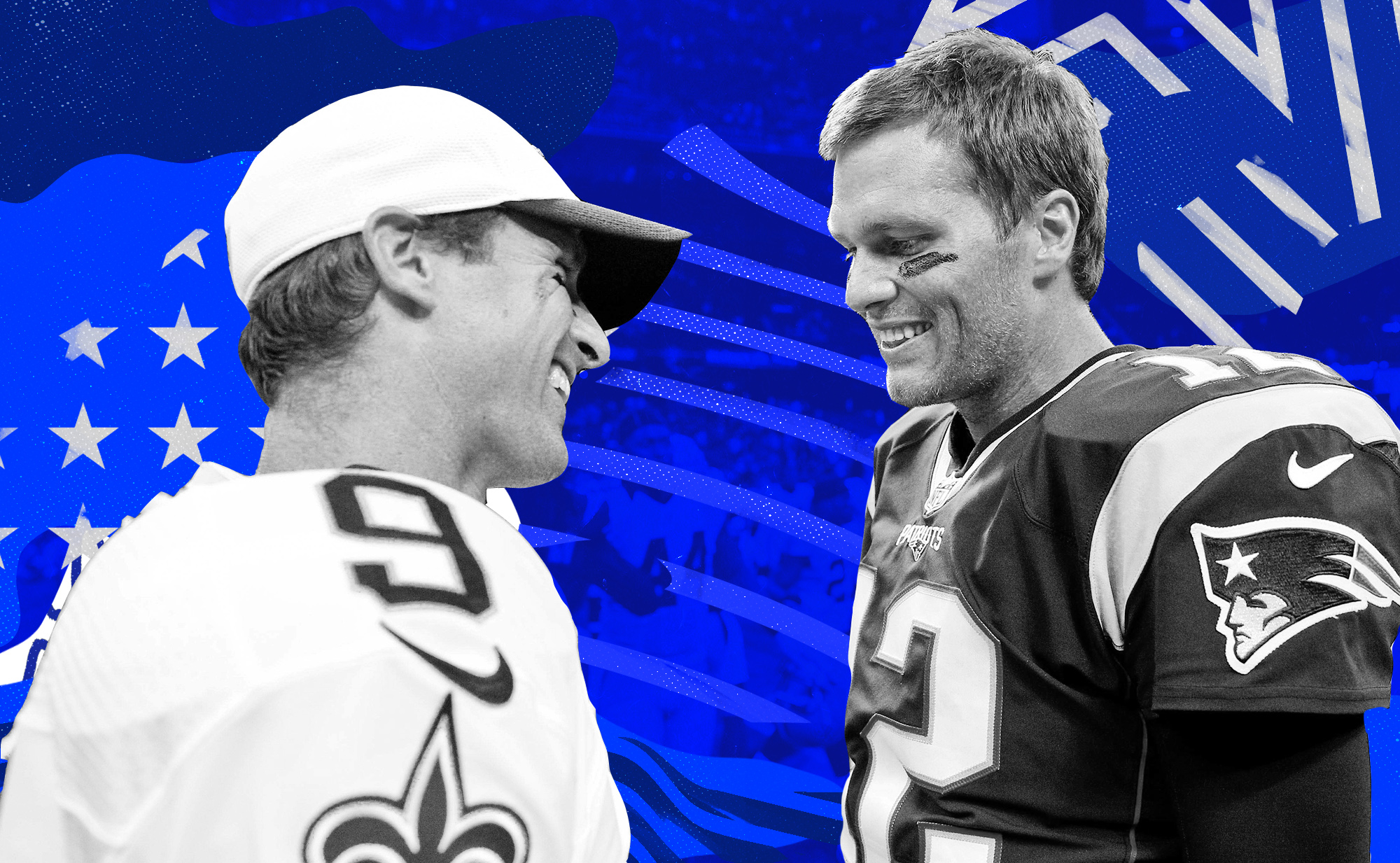 Tom Brady, Drew Brees smile at each other
