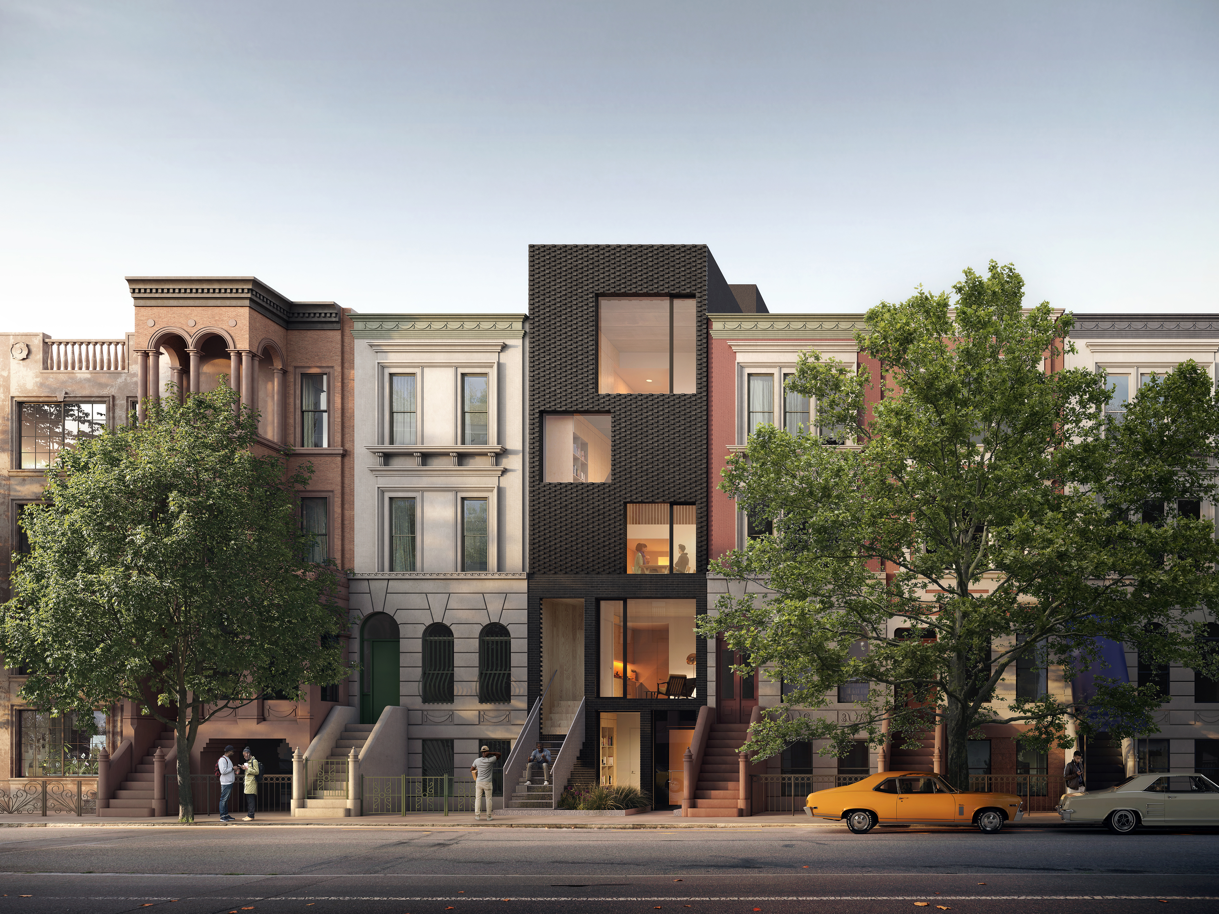 A rendering of an apartment building with a black facade and square windows, situated in the middle of a block surrounded by older apartment buildings.