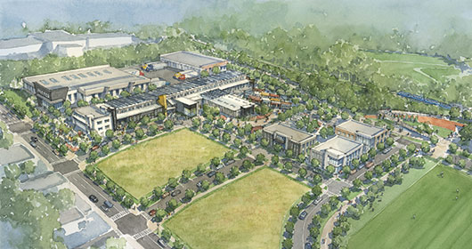 A rendering of the redevelopment dream for the former brownfield site.