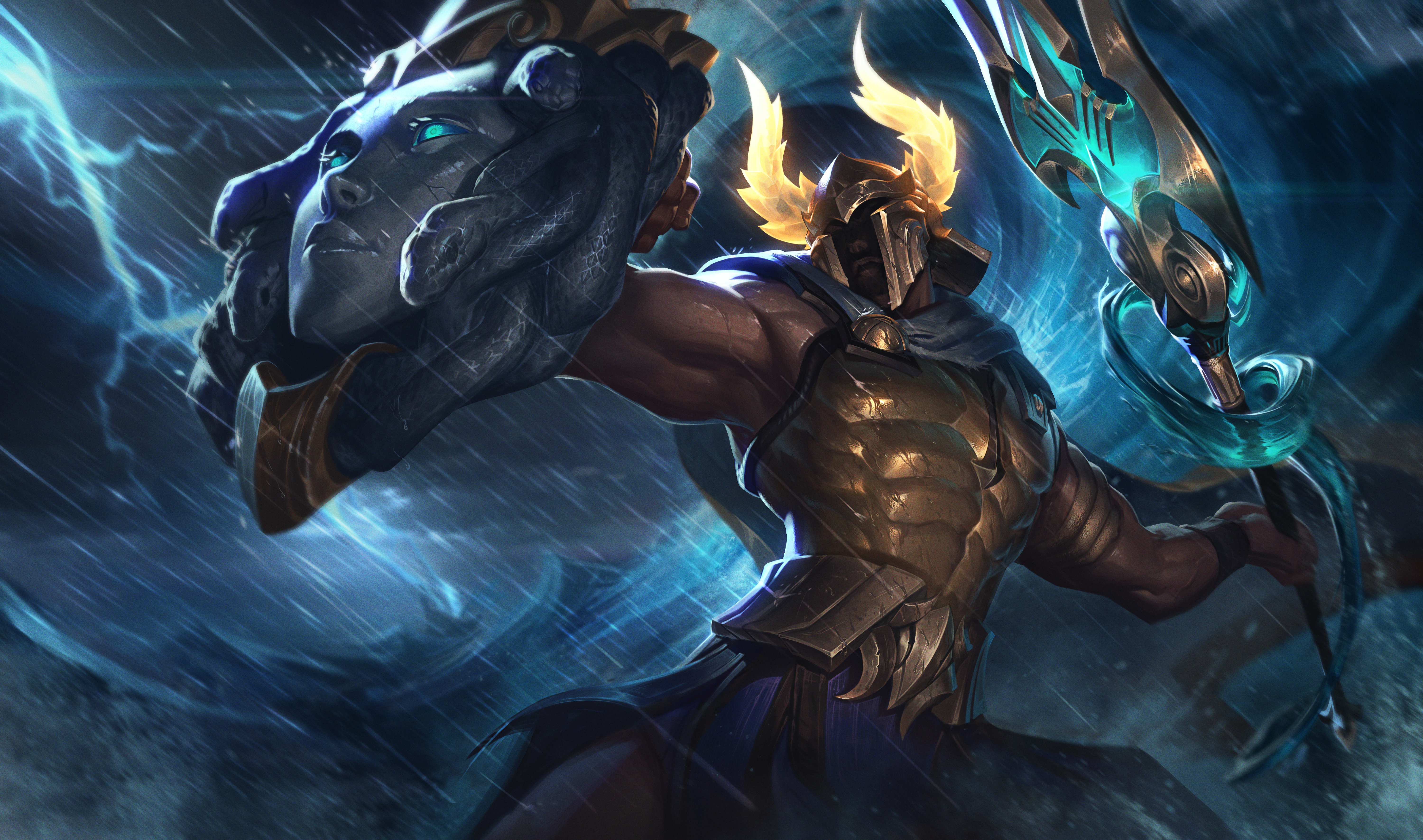 Perseus Pantheon's splash art, which has more of an aquatic and godly theme. He wields a trident and uses a shield that looks like it has Medusa's head on it.
