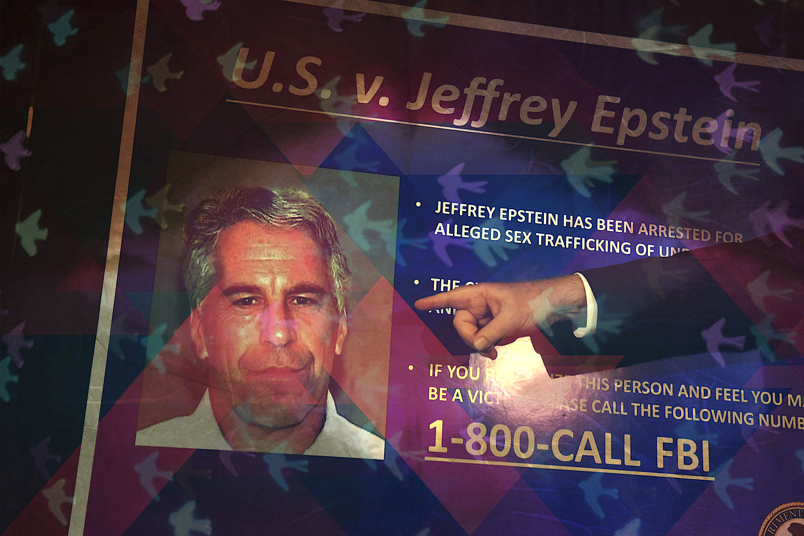 A person pointing at an FBI poster seeking calls for information on Epstein.