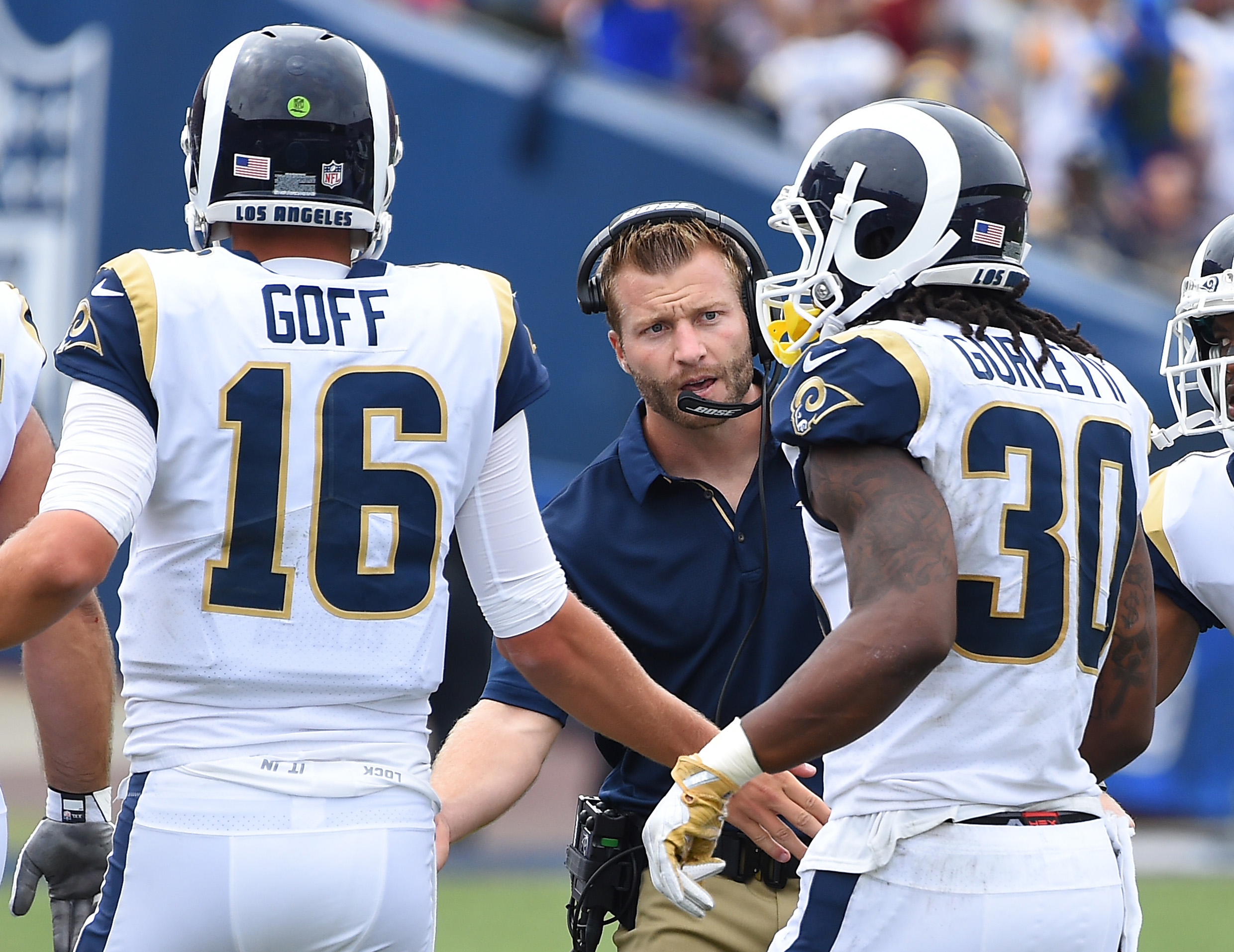 Los Angeles Rams HC Sean McVay congratulates QB Jared Goff and RB Todd Gurley (30) after a touchdown in Week 2, Sep. 17, 2017.