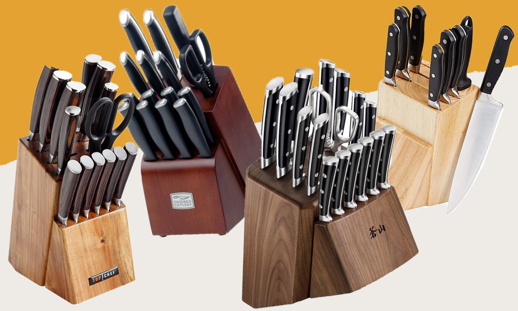 4 knife block sets on basic graphic background