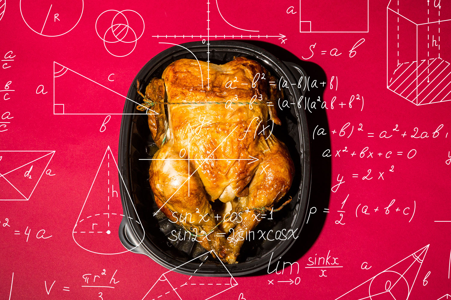 A rotisserie chicken in its black plastic container, underneath mathematical equations in white.