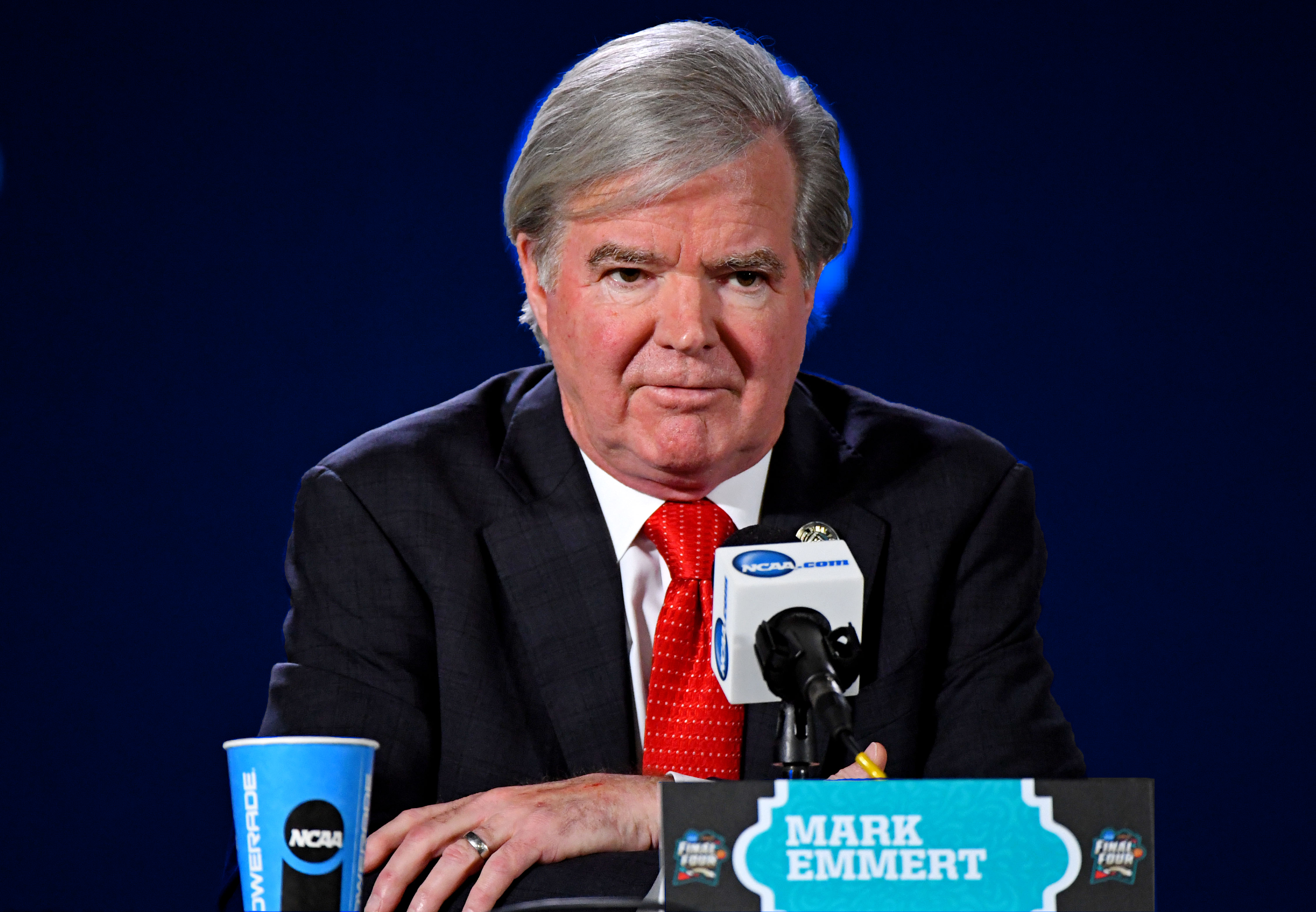 NCAA president Mark Emmert holds a press conference.