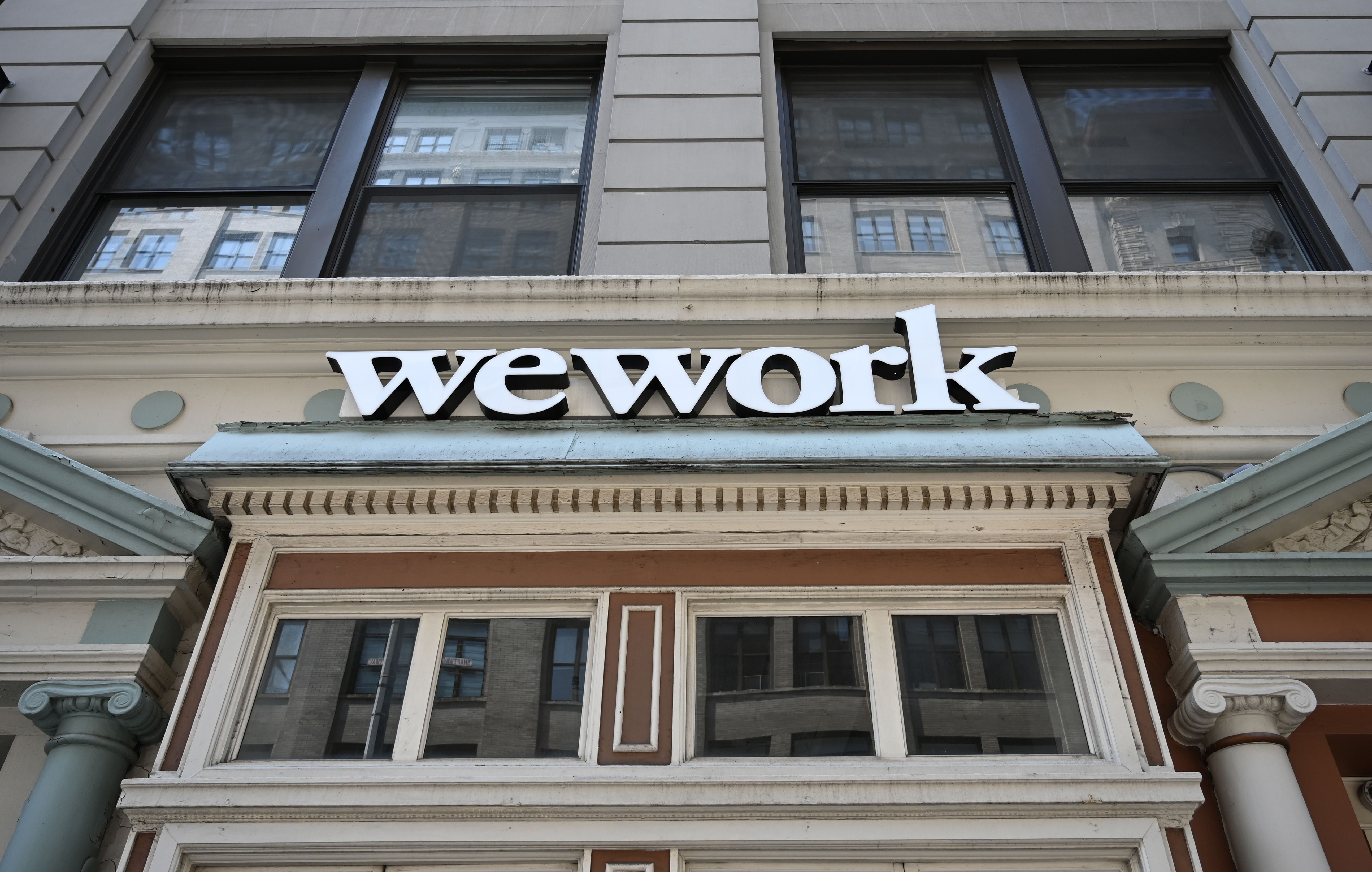 The entrance to a WeWork location in New York City.