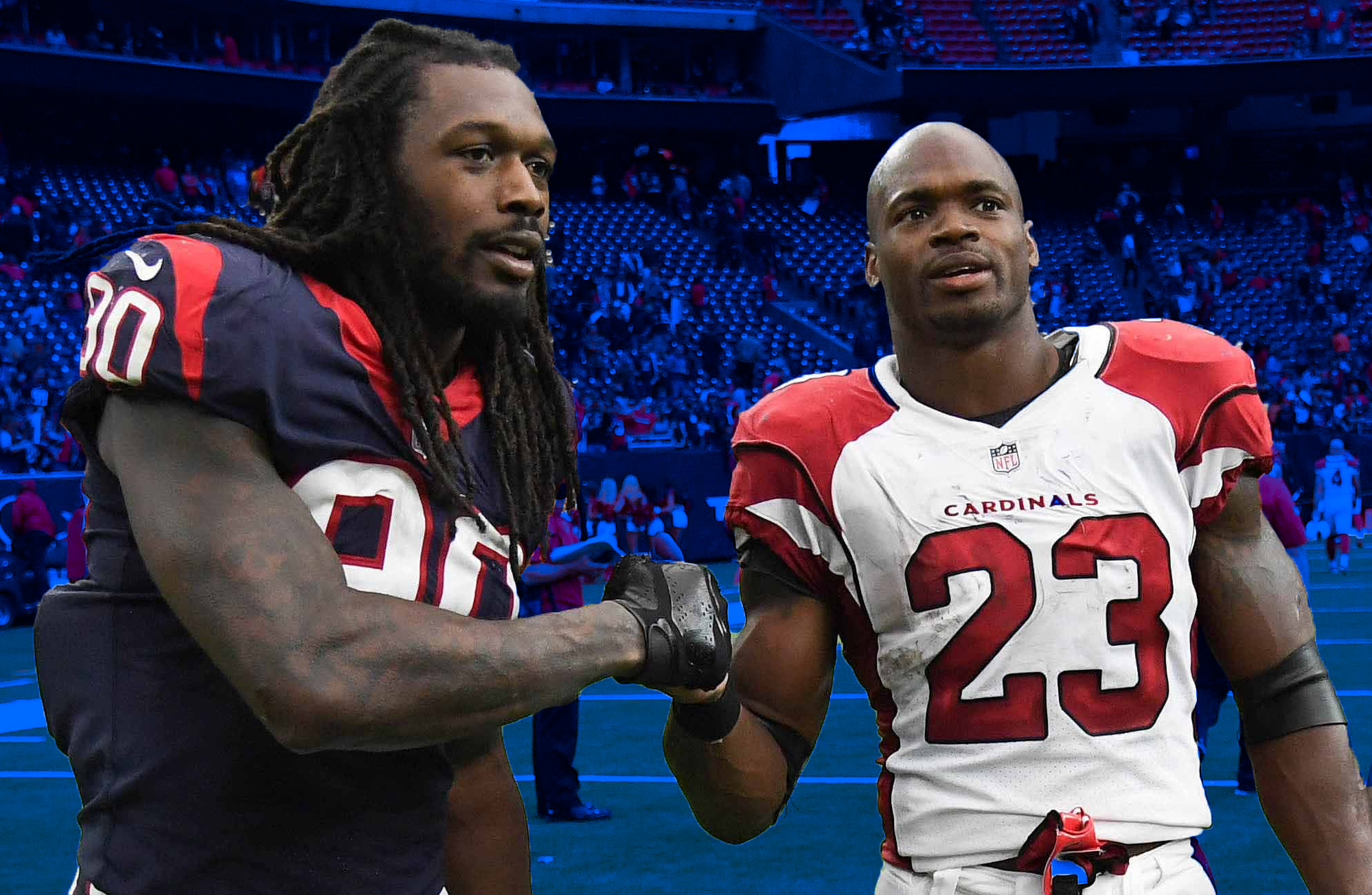 Jadeveon Clowney and Adrian Peterson