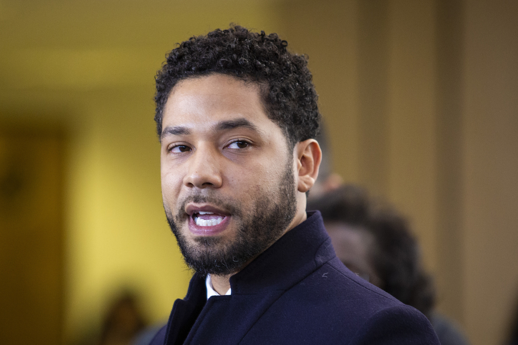 Jussie Smollett speaks to reporters after all charges against him were dropped. | Ashlee Rezin/Sun-Times
