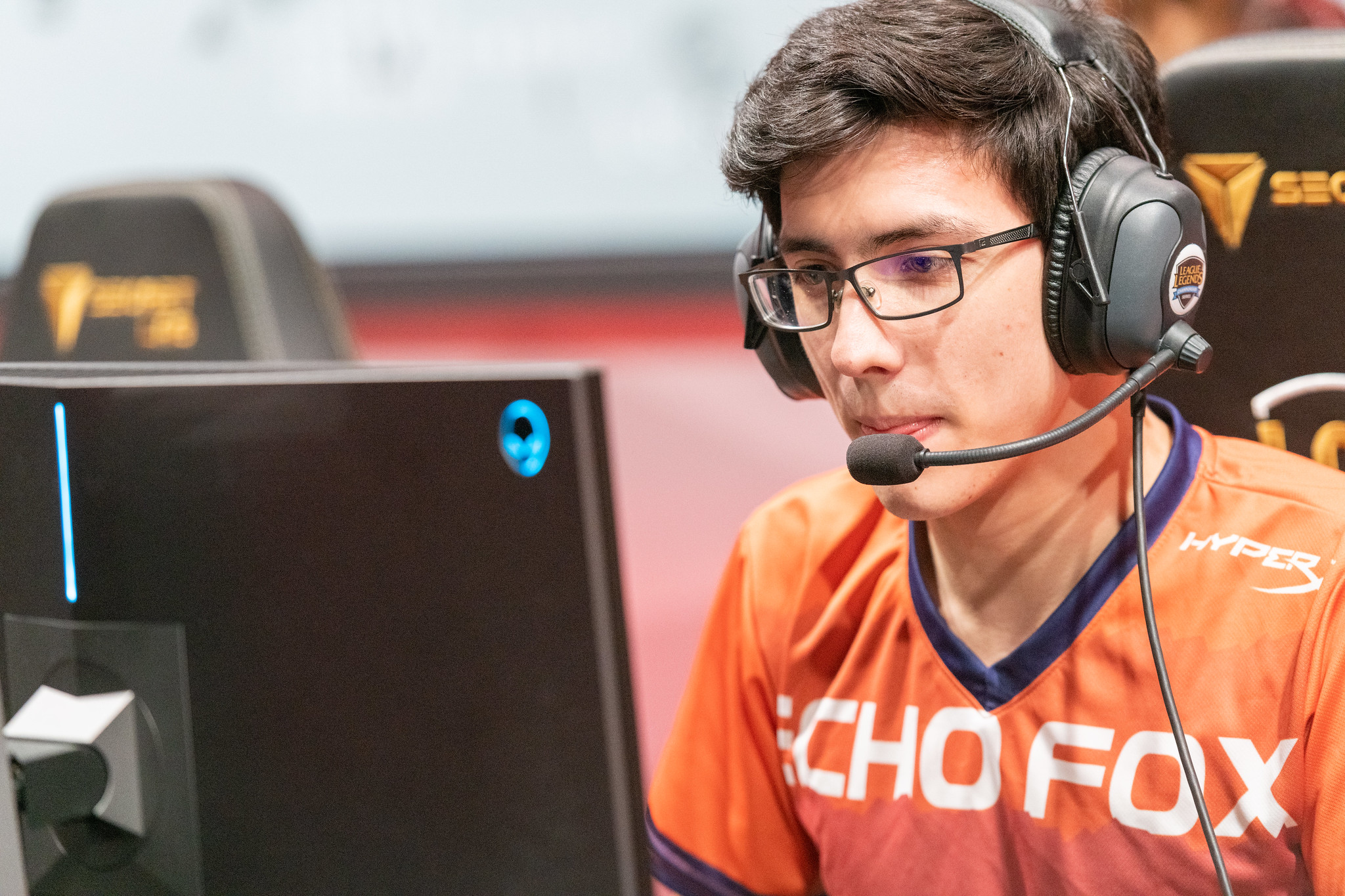 An Echo Fox player competing in what will be one of the organization's final regular season LCS matches