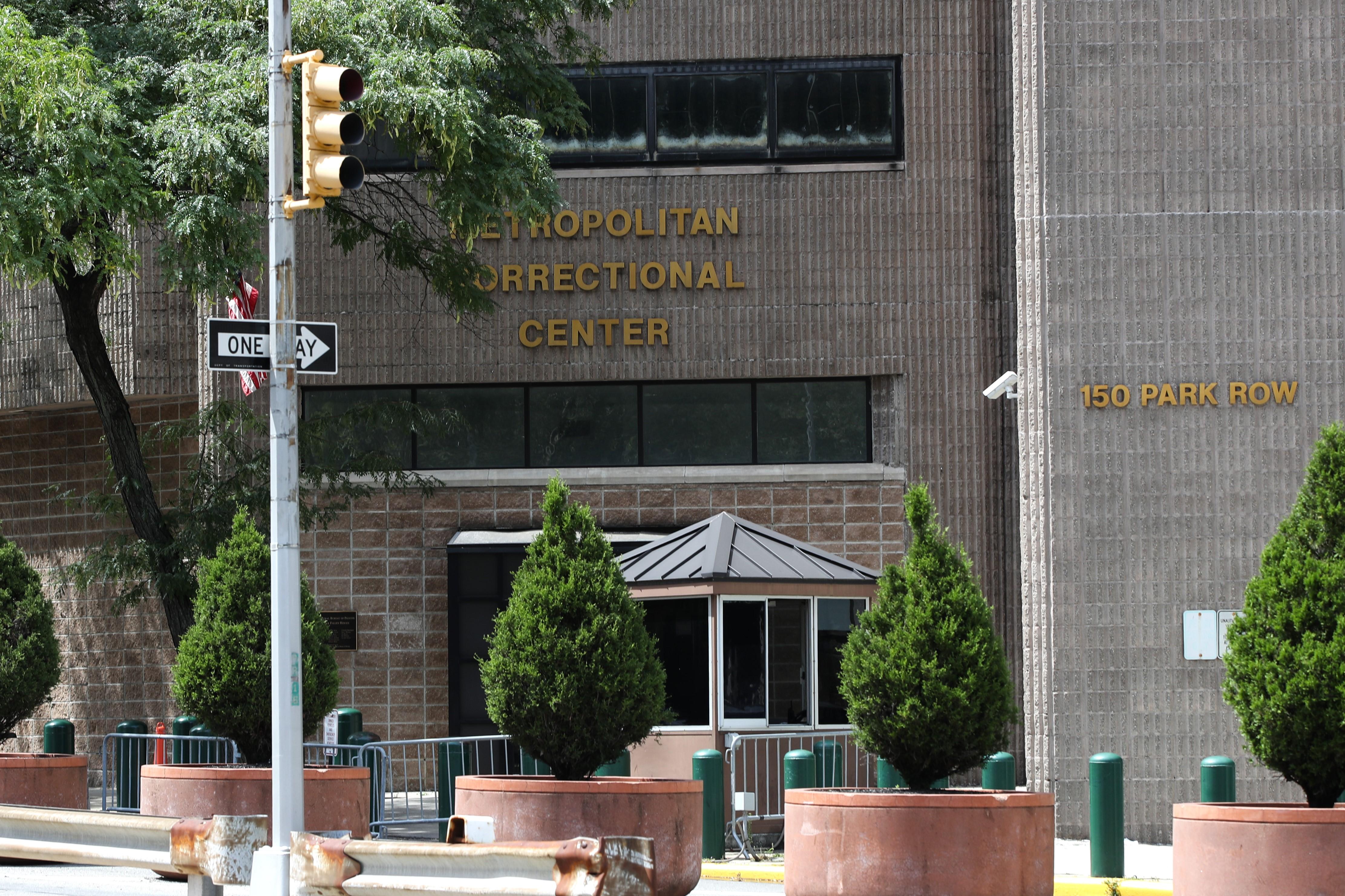 The exterior of the Metropolitan Correctional Center building in Manhattan.
