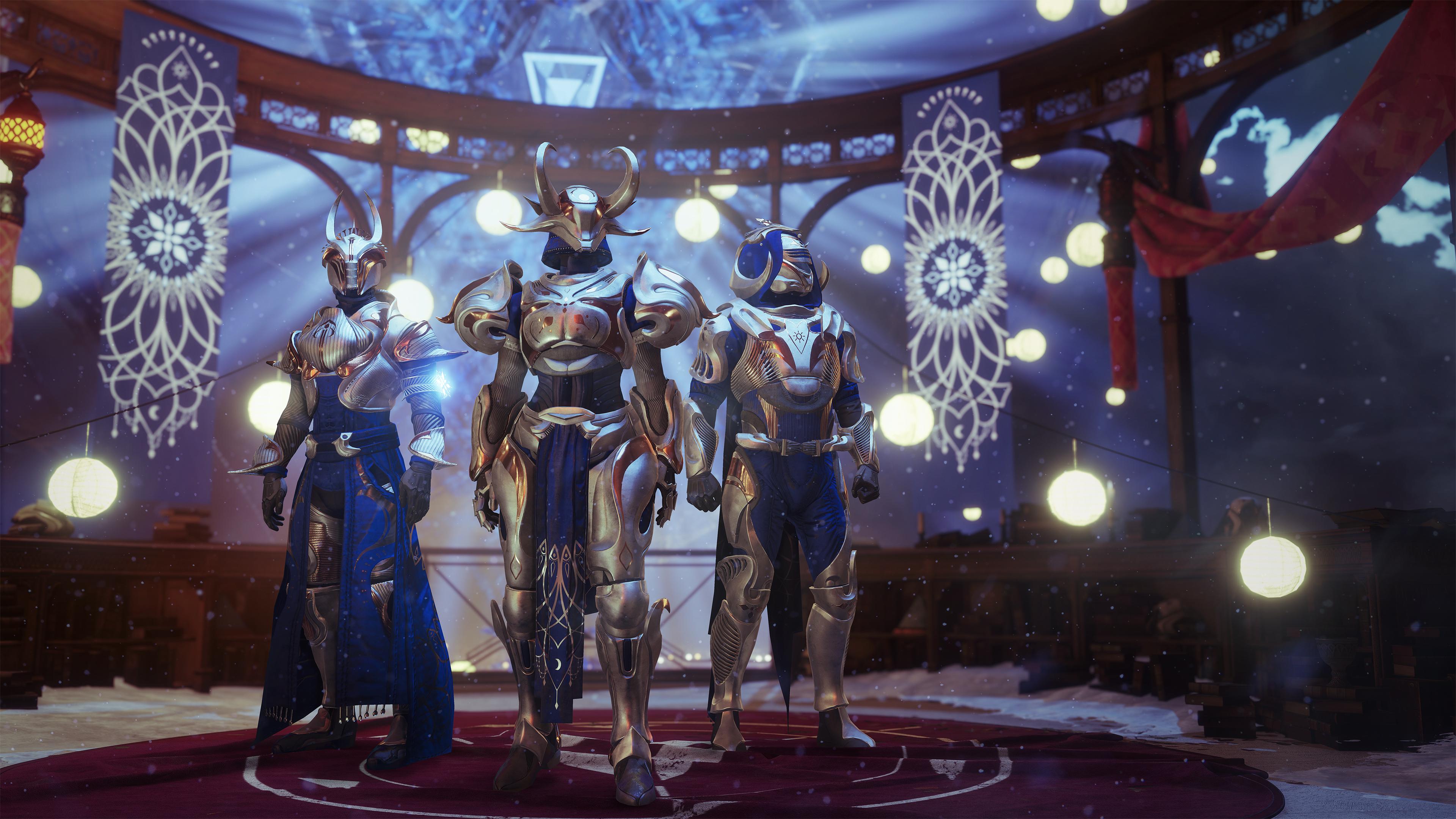 Destiny 2 - three Guardians wearing The Dawning armor