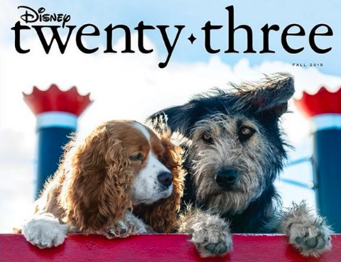 The new Tramp (voiced by Justin Theroux) is a perfectly scruffy vagabond mutt shown giving a look to his unlikely love, the refined spaniel Lady (voiced by Tessa Thompson).