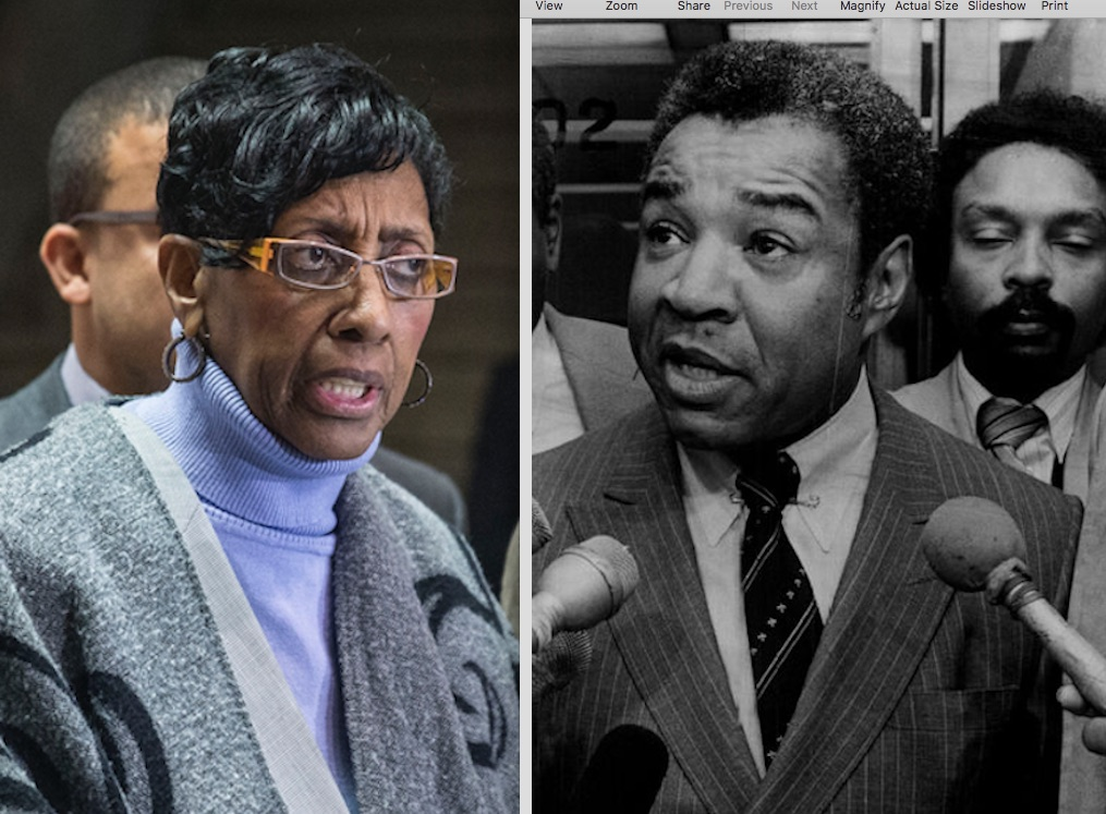 Ald. Carrie Austin, left, in 2015; Ald. Wilson Frost, right, in 1983.