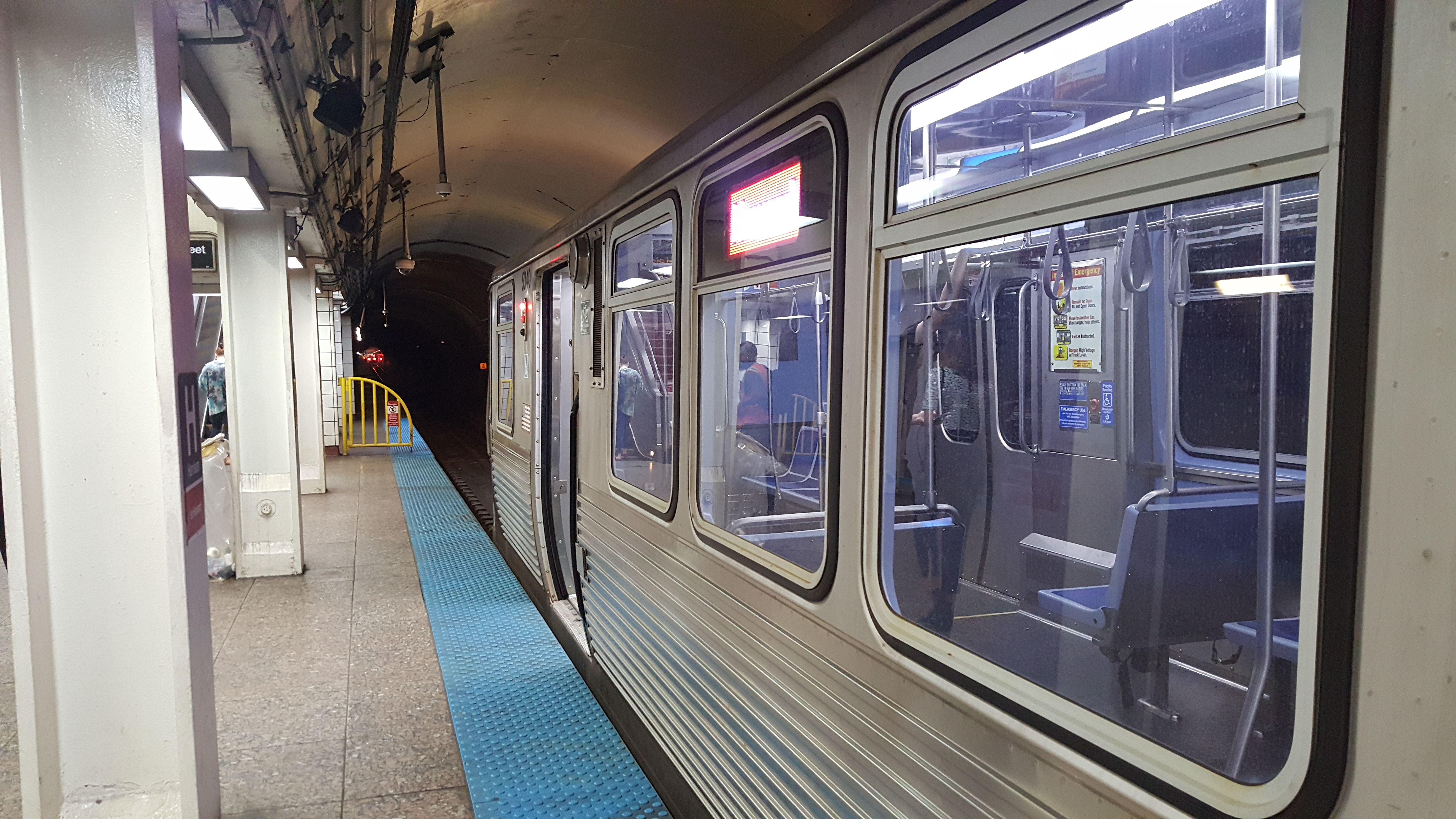 A CTA Red Line train is halted at Harrison as the transit agency reroutes service to elevated tracks Aug. 15, 2019, because of a person walking in the subway tunnel near the Chicago station, 800 N. State St.