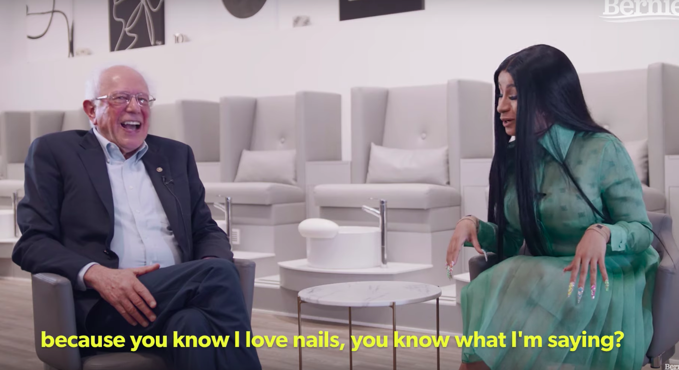 Sen. Bernie Sanders sat down with Cardi B at Detroit's TEN nail salon to discuss politics.