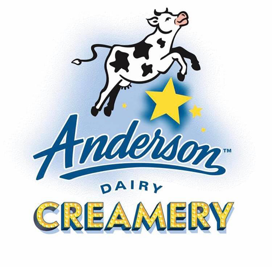 Logo of the Anderson Dairy Creamery featuring a drawing of a cow jumping over the moon.