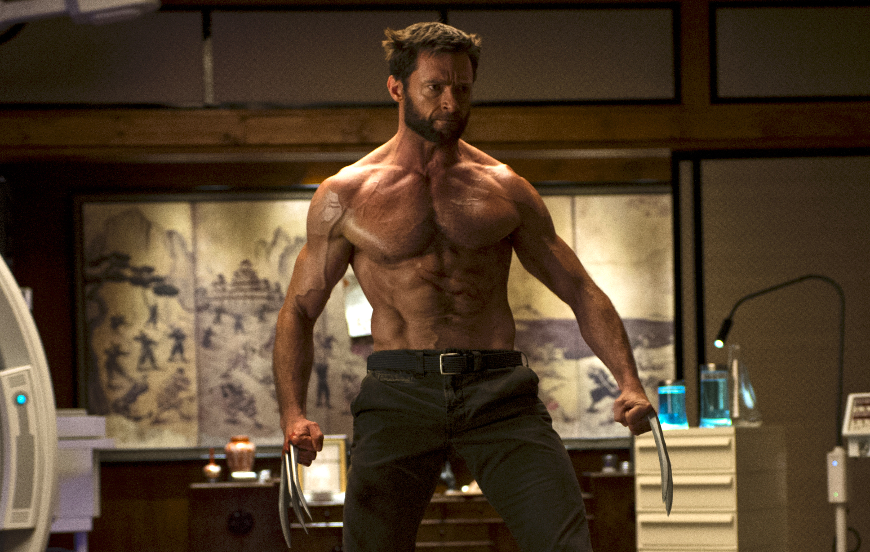 hugh jackman as the (shirtless and extremely ripped) wolverine in The Wolverine from 2013