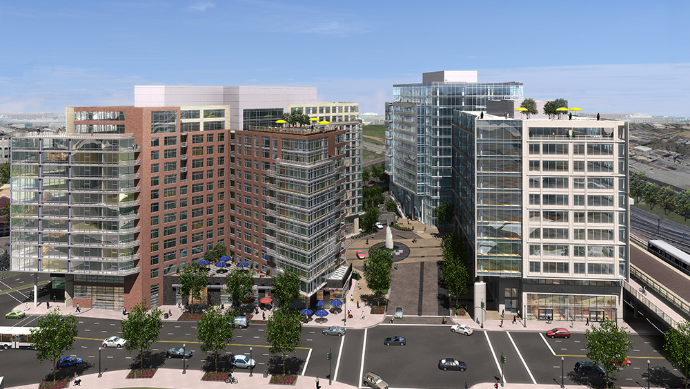 An early rendering of the Washington Gateway project in NoMa, showing several mixed-use towers next to elevated train tracks.