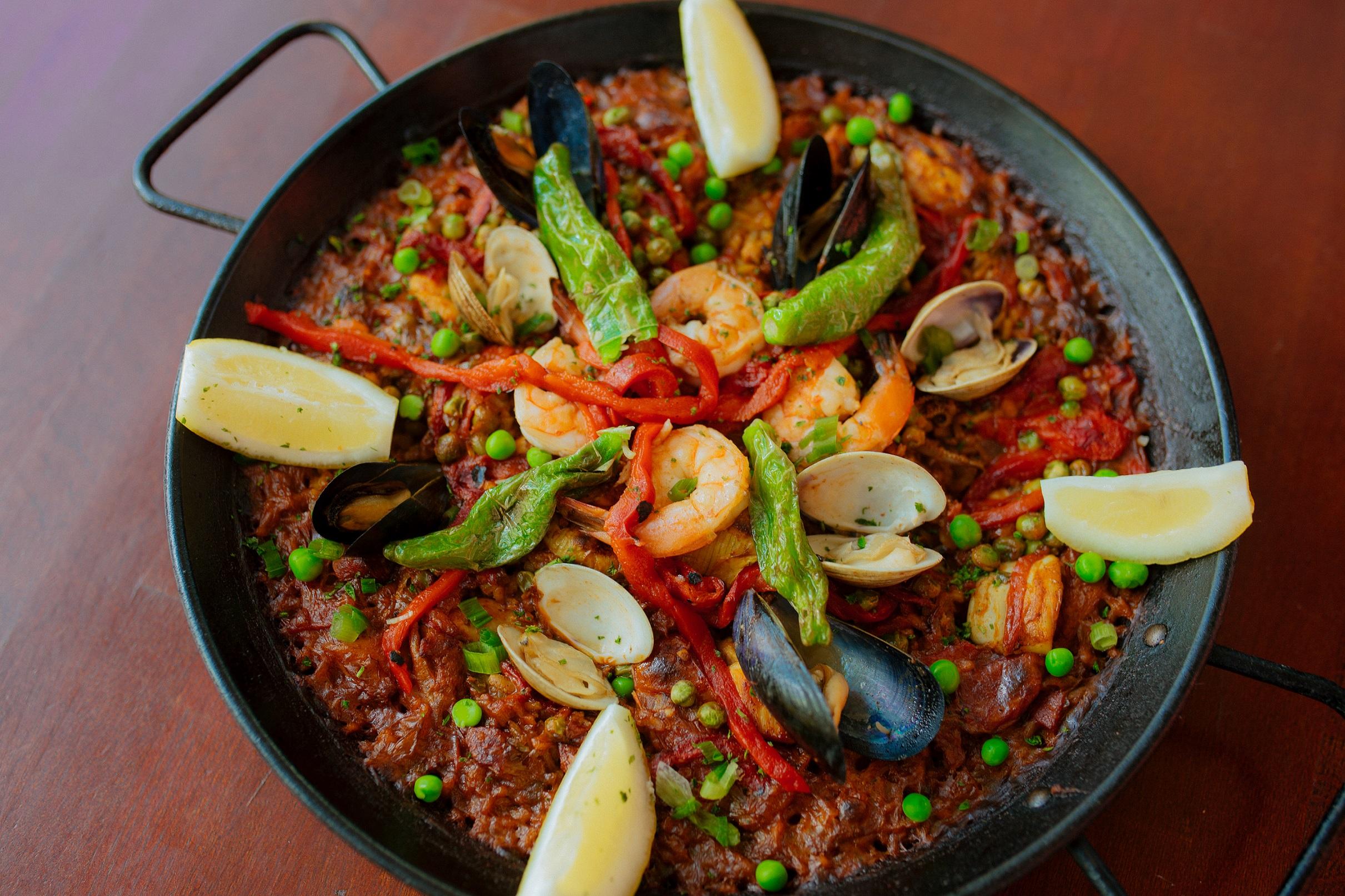 Paella with shrimp