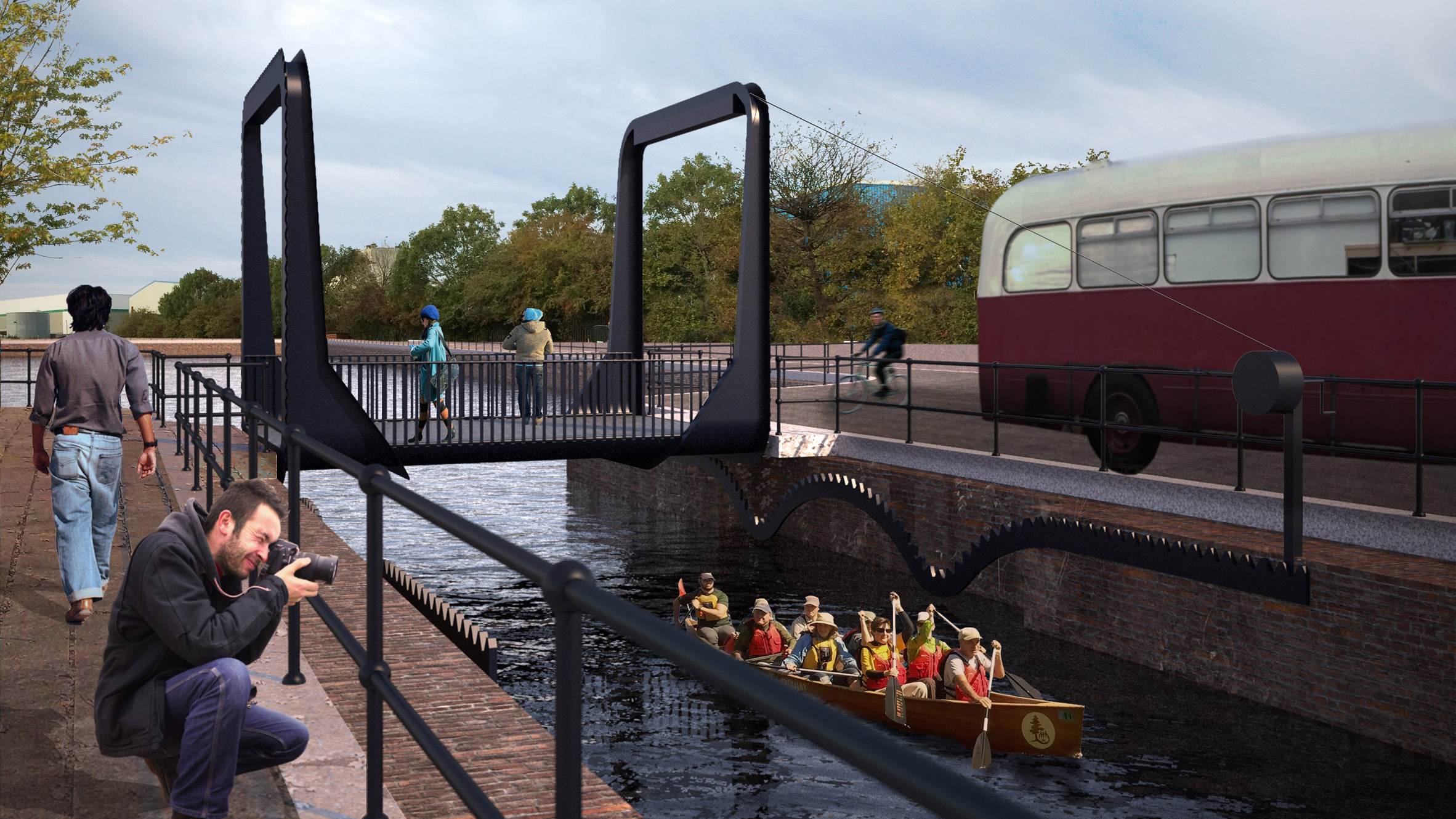 Designer proposes modern rolling bridge cranked by hand