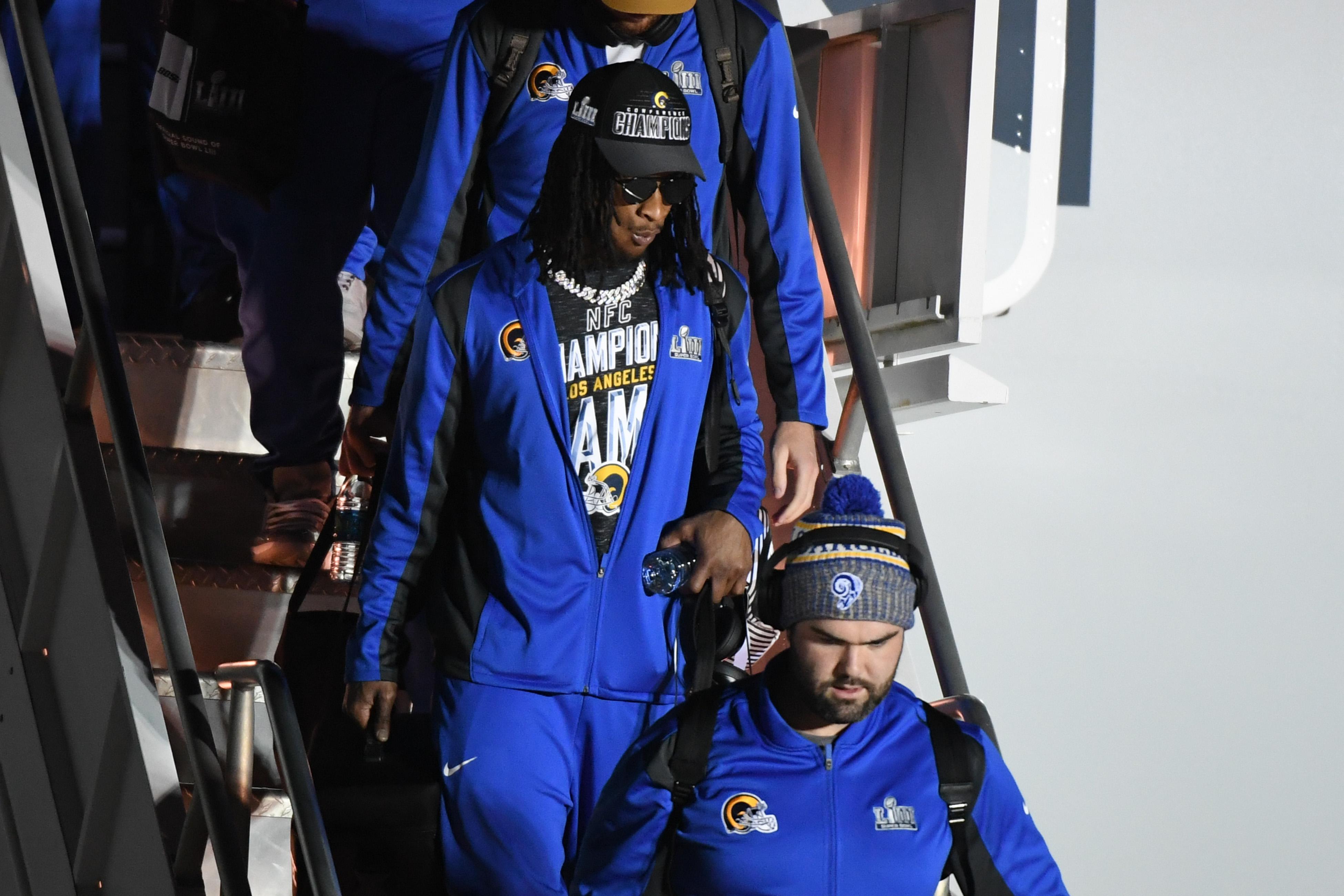 Los Angeles Rams RB Todd Gurley gets off the plane at Hartsfield Jackson Atlanta International Airport ahead of Super Bowl LIII, Jan. 27, 2019.