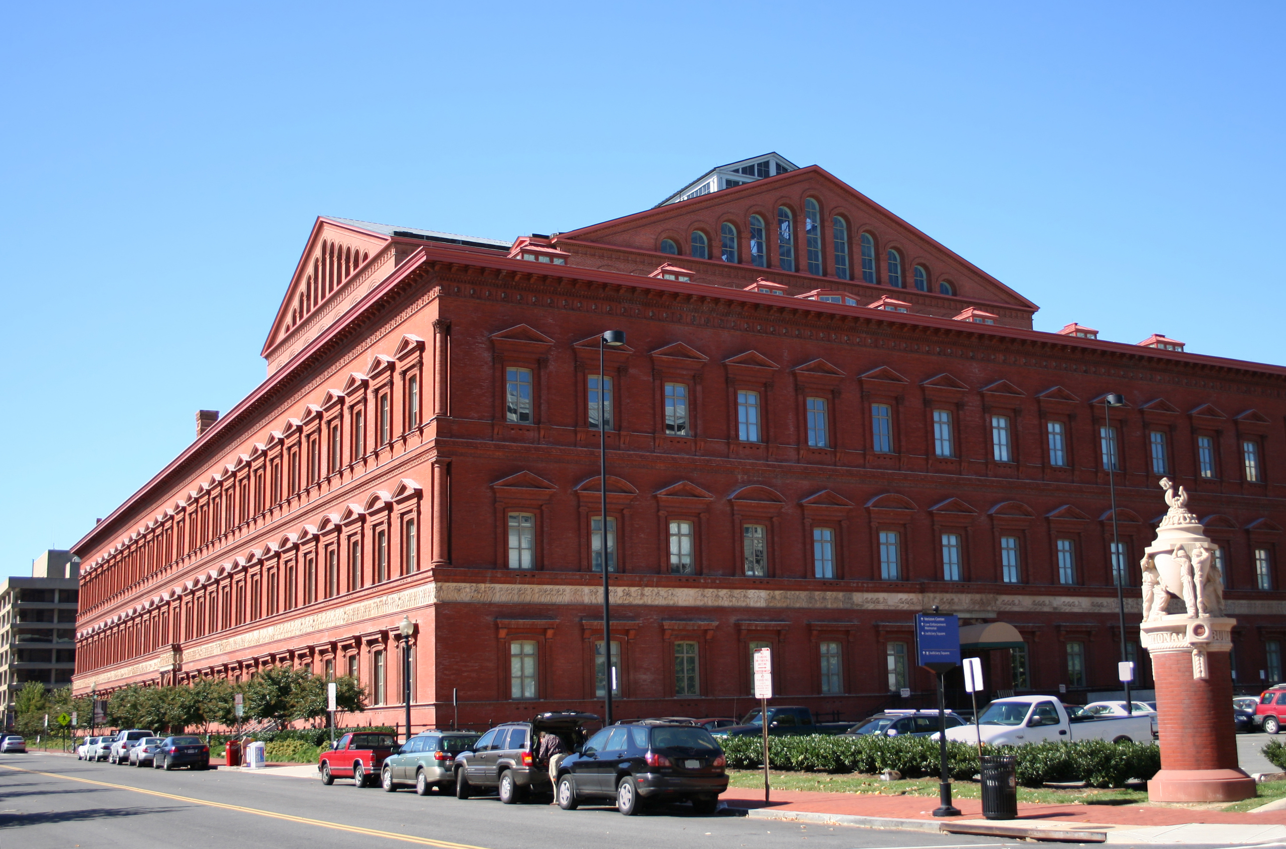 The National Building Museum, a three-and-a-half story Renaissance Revival-style building in Penn Quarter.