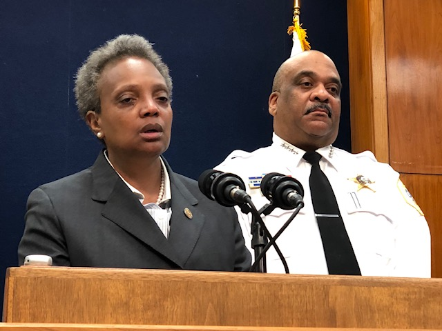 Mayor Lori Lightfoot and Police Superintendent Eddie Johnson