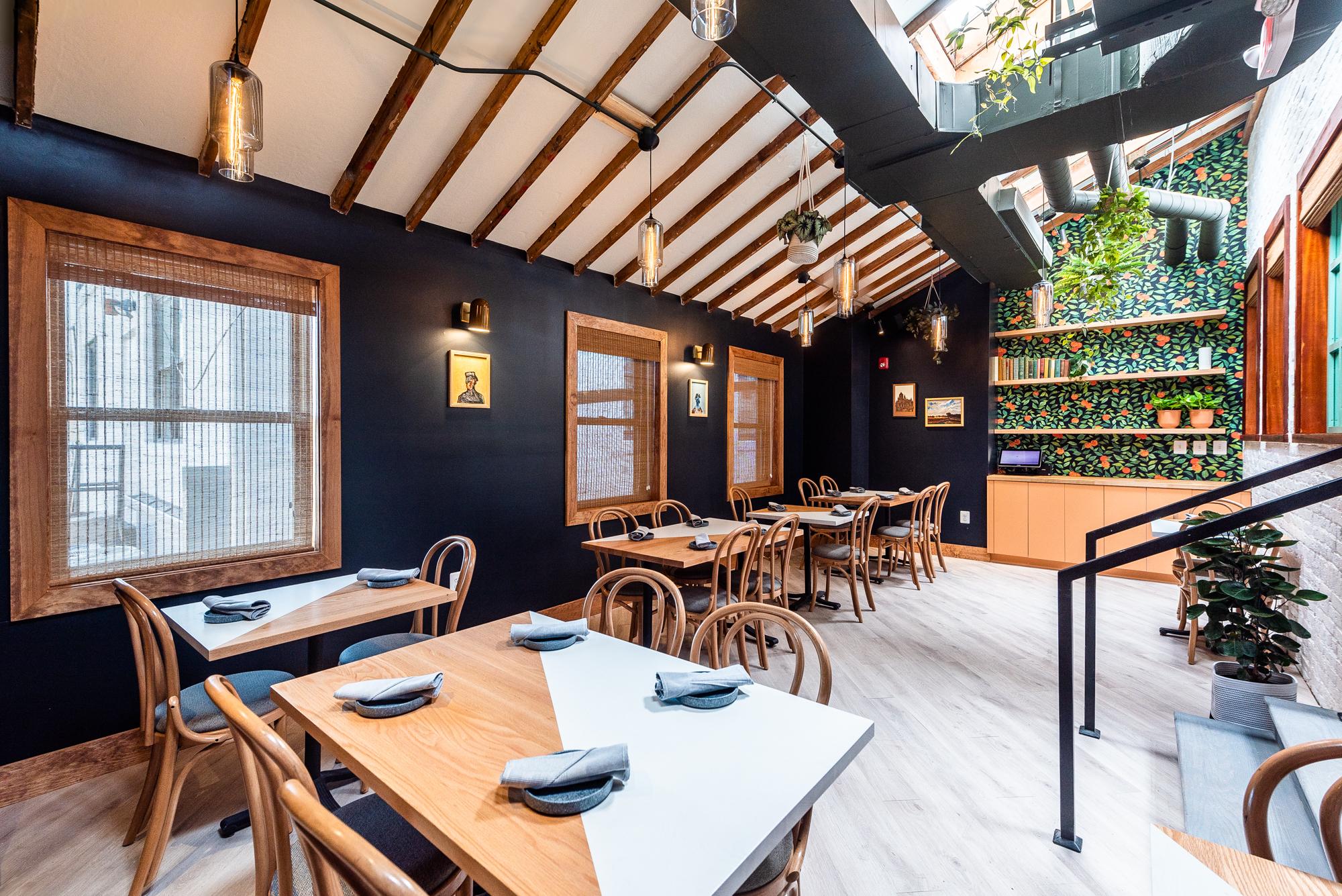 The upstairs dining room at Anju